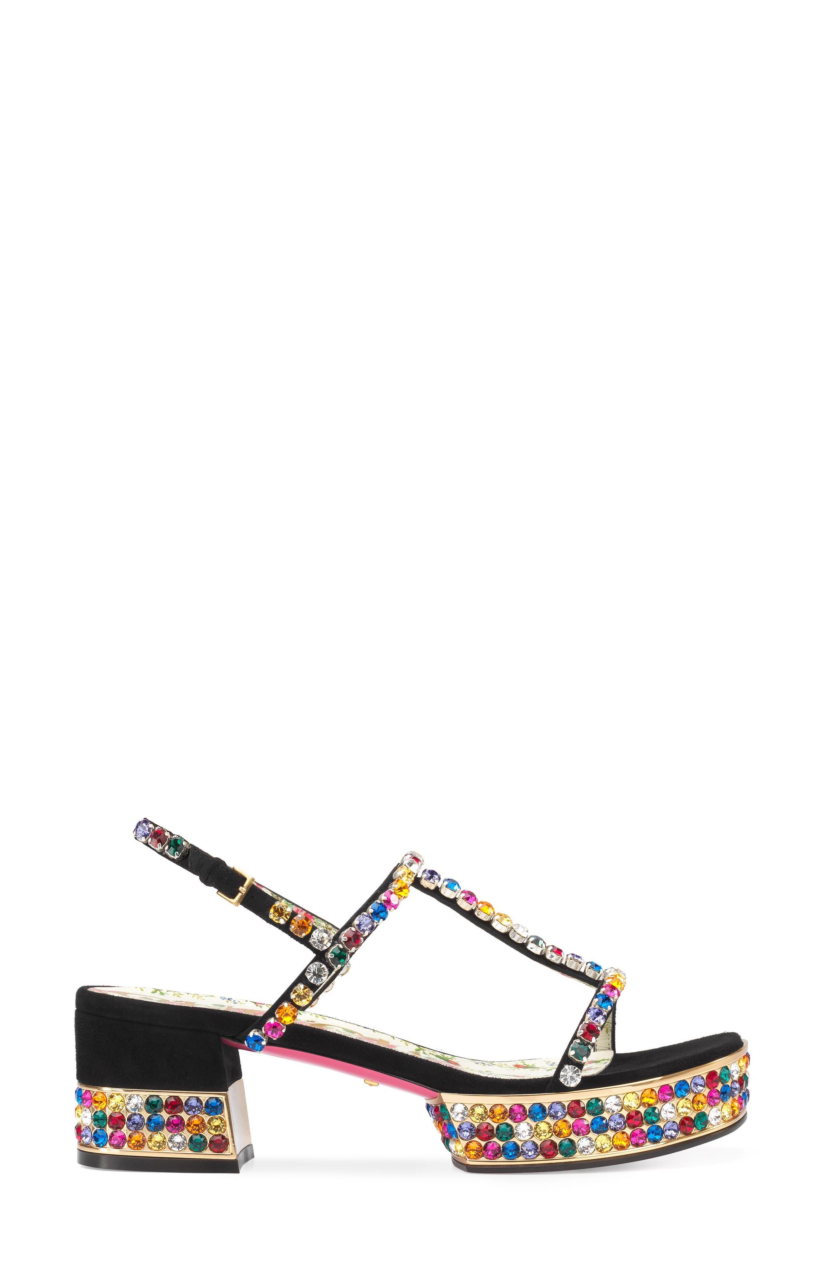 Mira Crystal Embellished Platform Sandal,                             Alternate thumbnail 2, color,                             Black Multi
