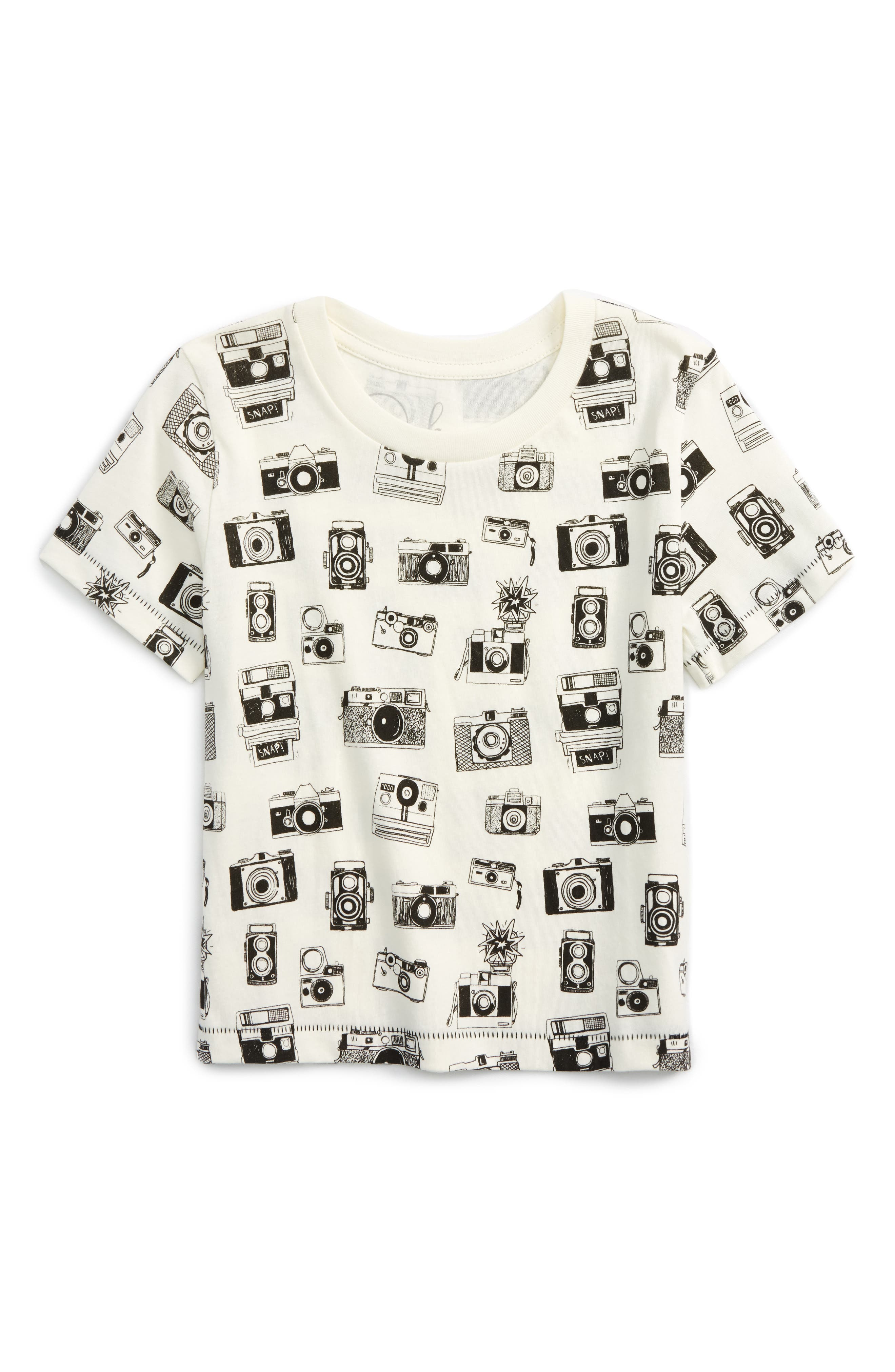 All Over Camera Graphic T-Shirt,                             Main thumbnail 1, color,                             White