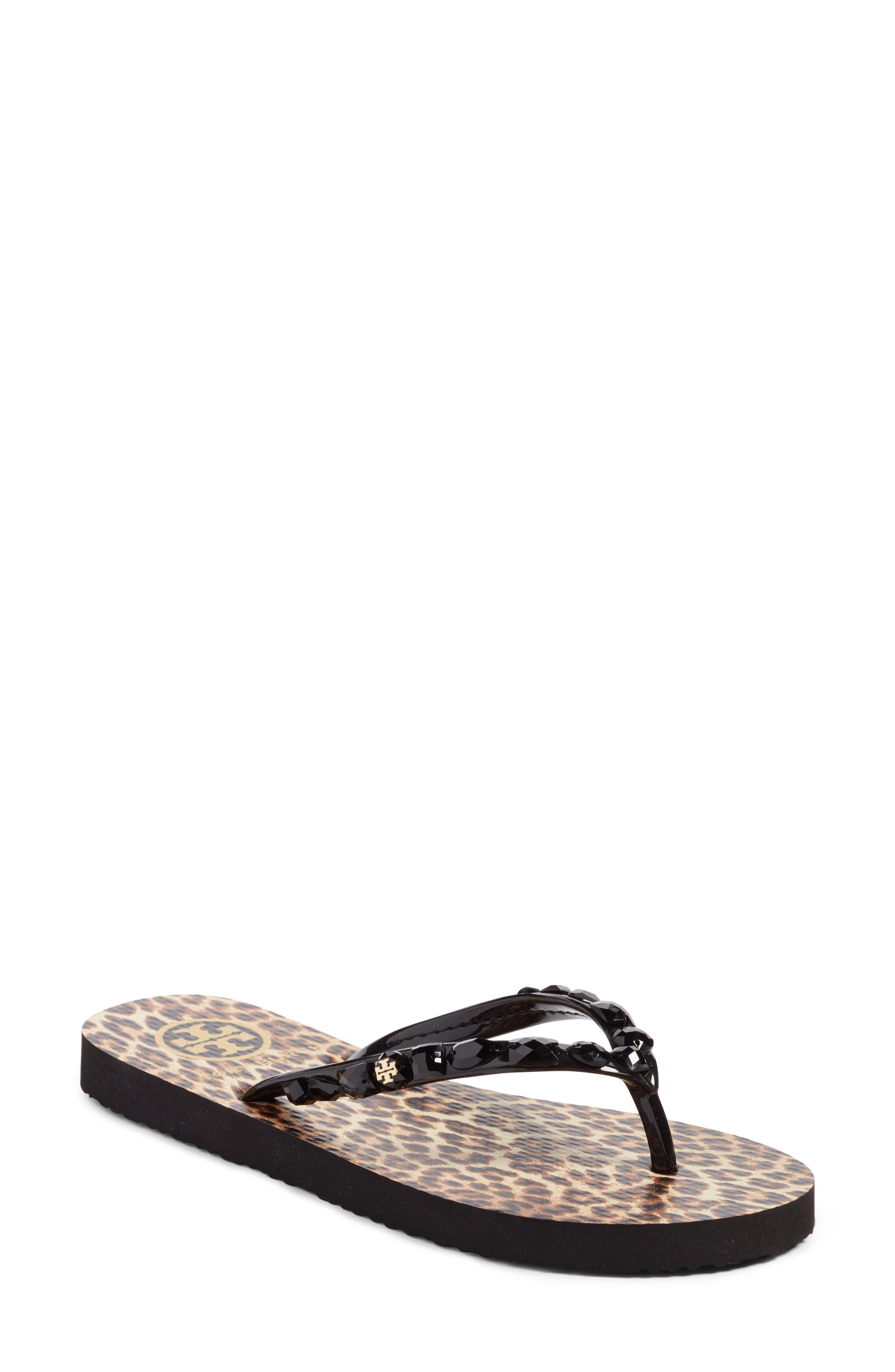 Embellished Flip-Flop,                         Main,                         color, Black/ Leopard