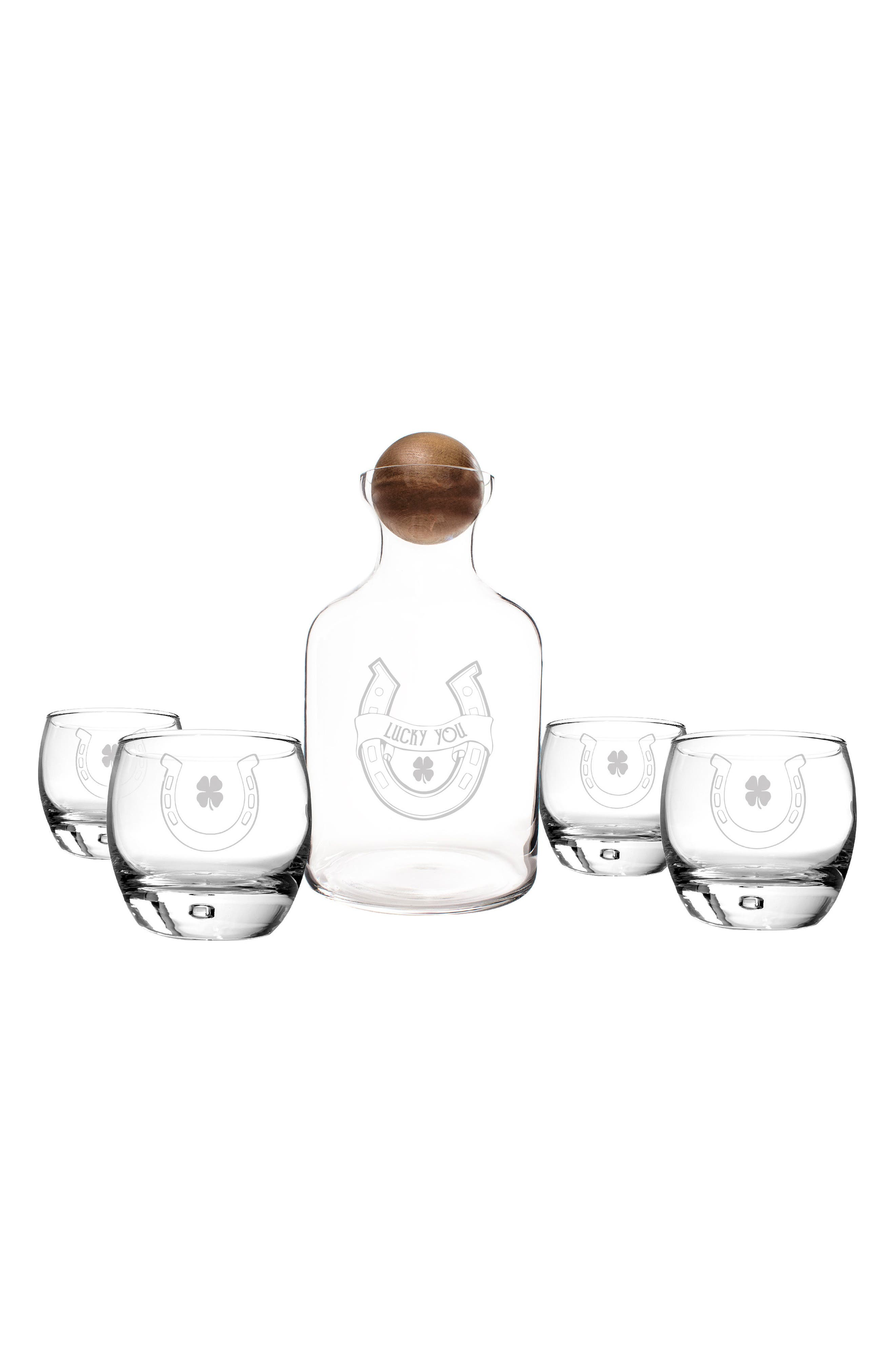 Lucky You Horseshoe Decanter & Set of Four Glasses,                         Main,                         color, St Patricks Day