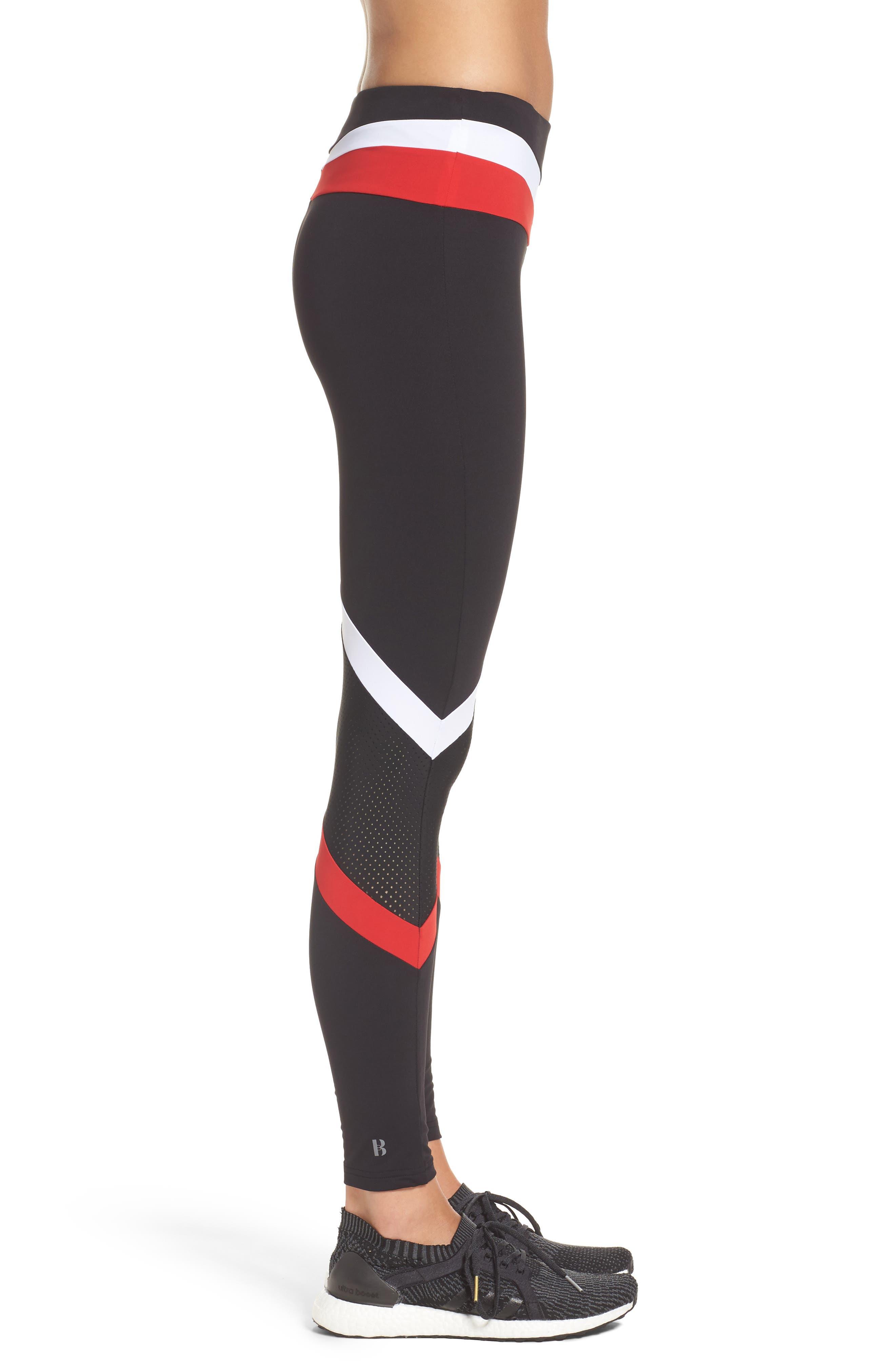 BoomBoom Athletica Leggings,                             Alternate thumbnail 3, color,                             Black/ White/ Red