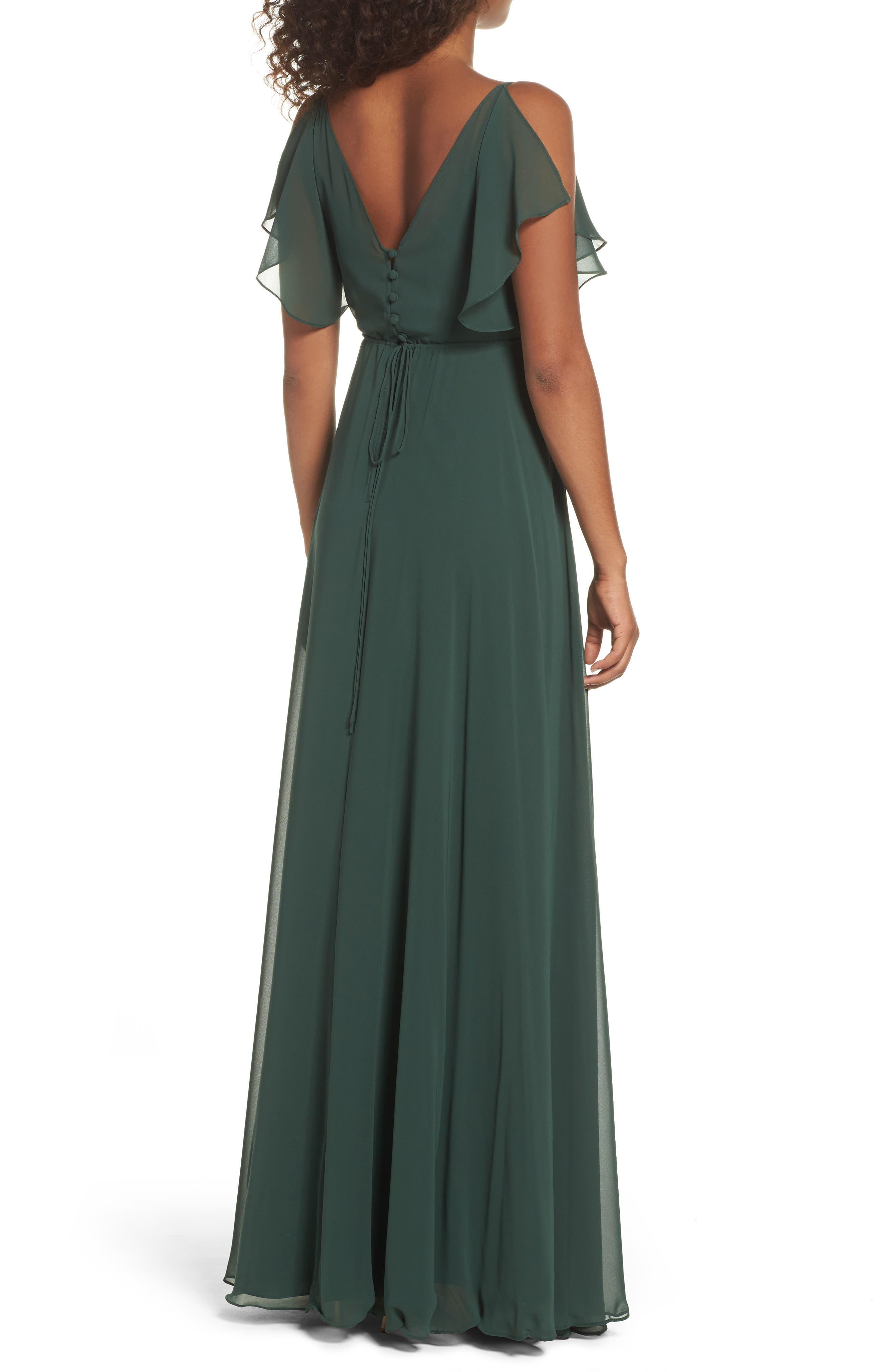 Cassie Flutter Sleeve Chiffon A-Line Gown,                             Alternate thumbnail 2, color,                             Forrest