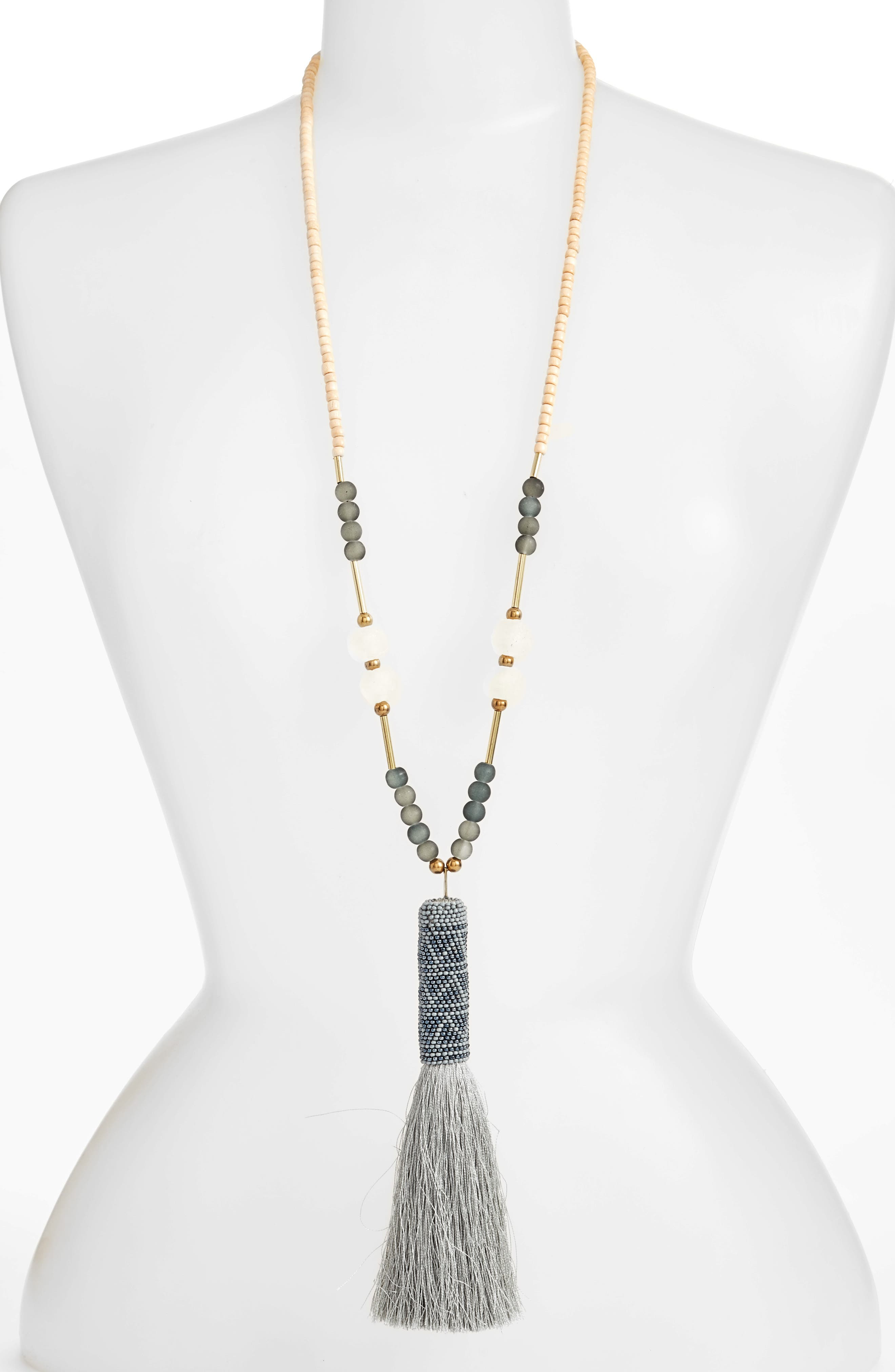 Long Pendant Necklace,                         Main,                         color, Grey