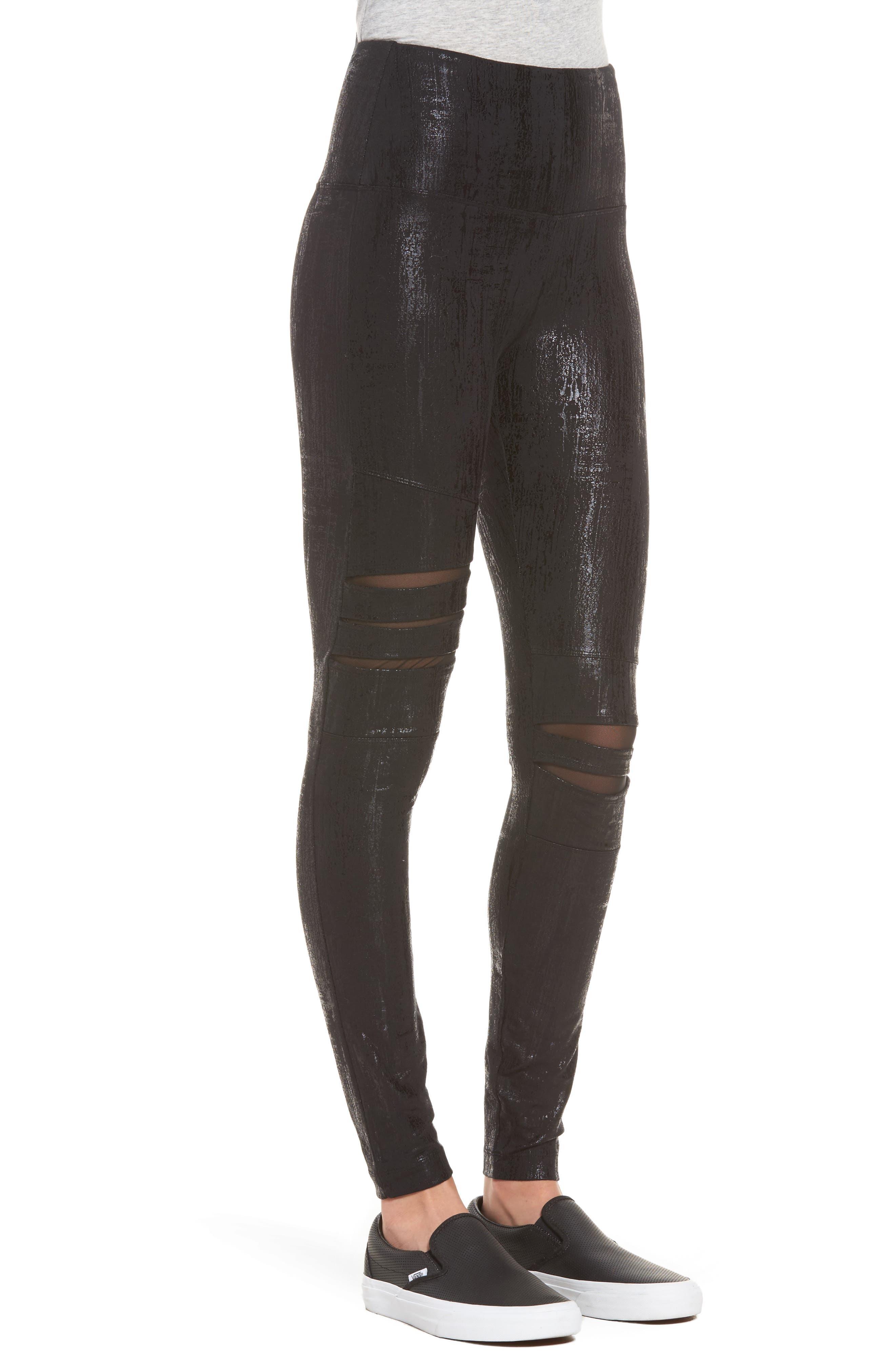Slashed High Waist Leggings,                             Alternate thumbnail 3, color,                             Liquid Black