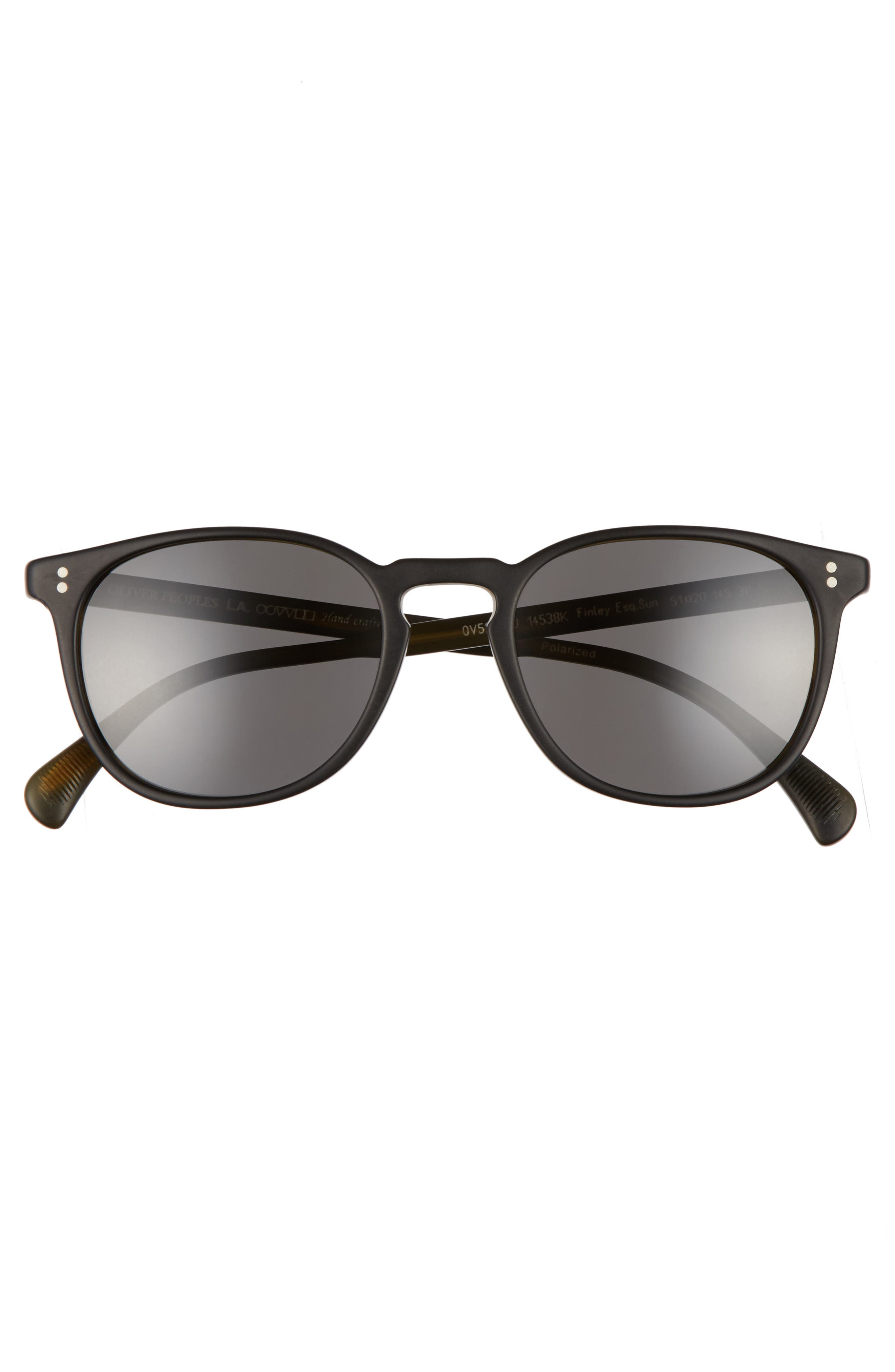 Finley 51mm Retro Polarized Sunglasses,                             Alternate thumbnail 2, color,                             Black