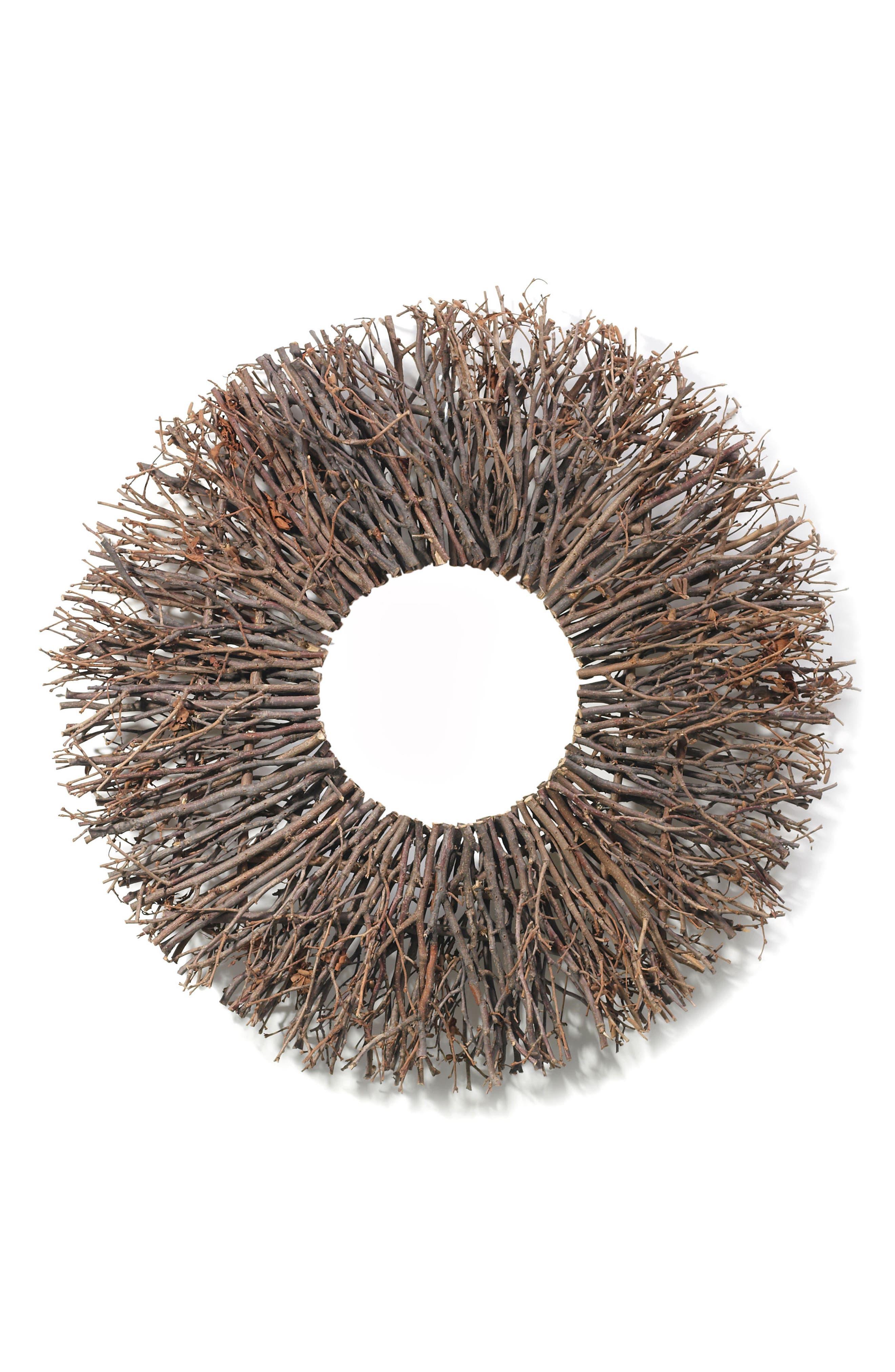 Twig Wreath,                         Main,                         color, Brown