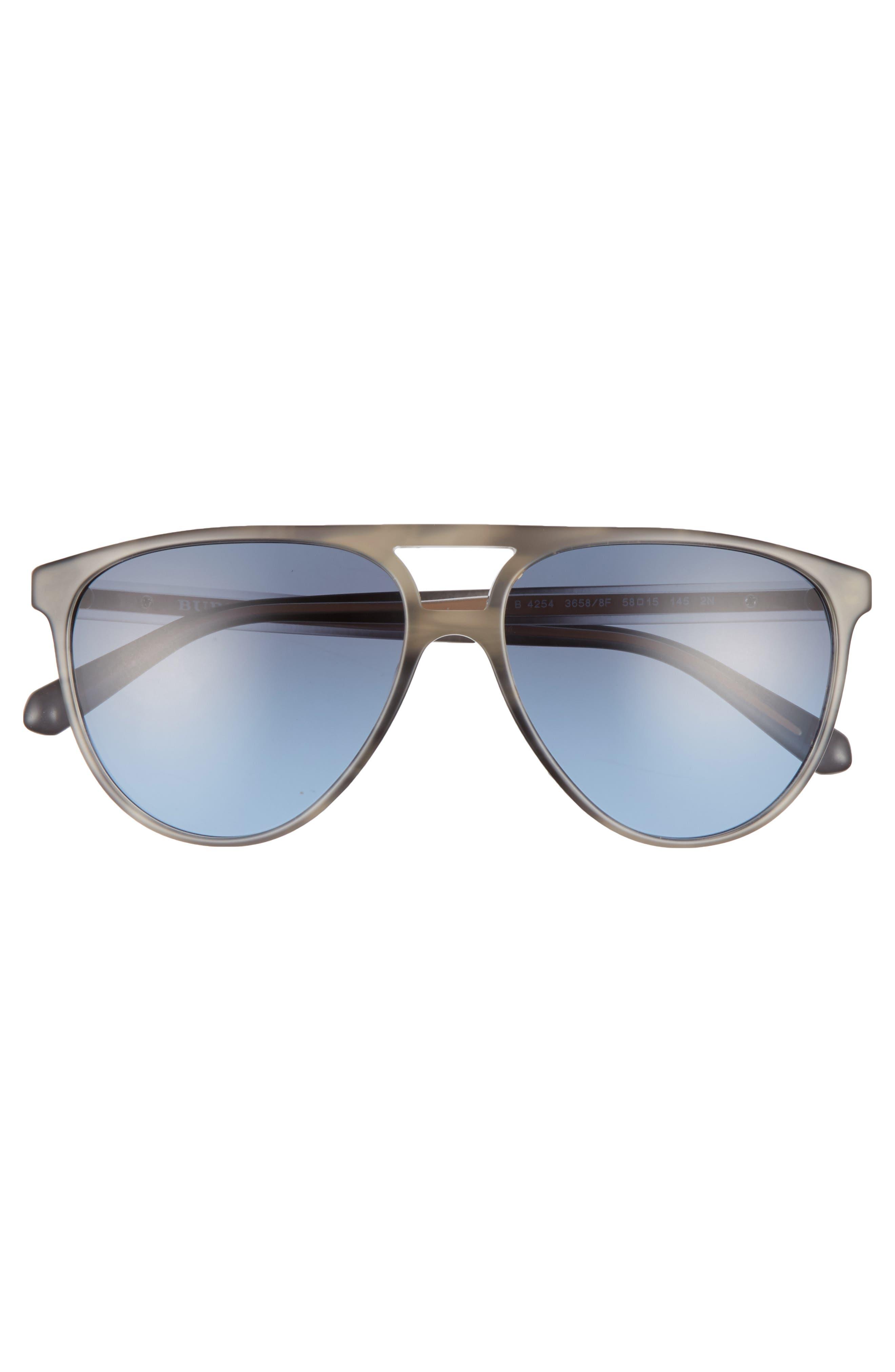 58mm Aviator Sunglasses,                             Alternate thumbnail 2, color,                             Grey/ Blue