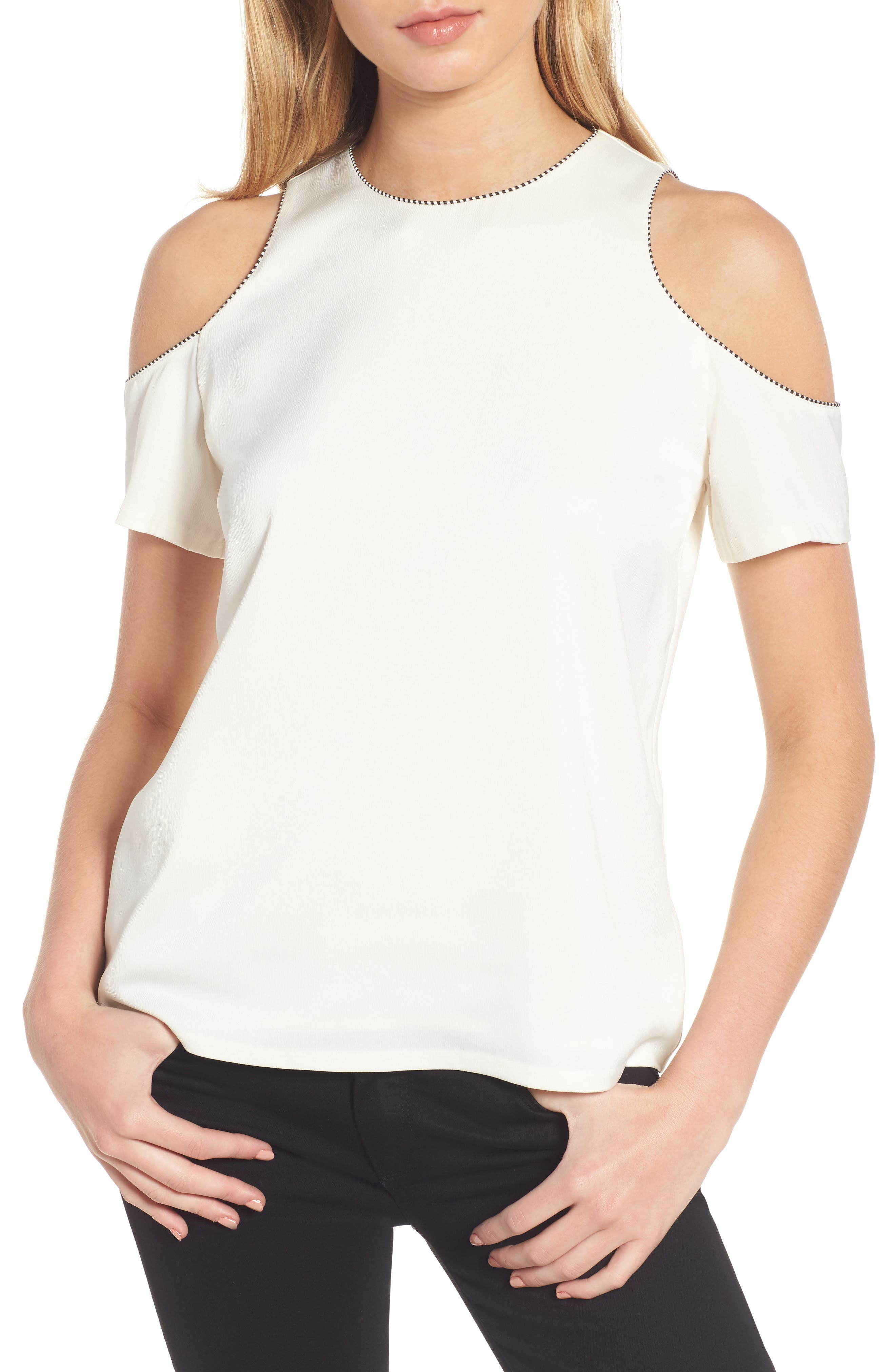 Emmy Cold Shoulder Top,                         Main,                         color, Ivory