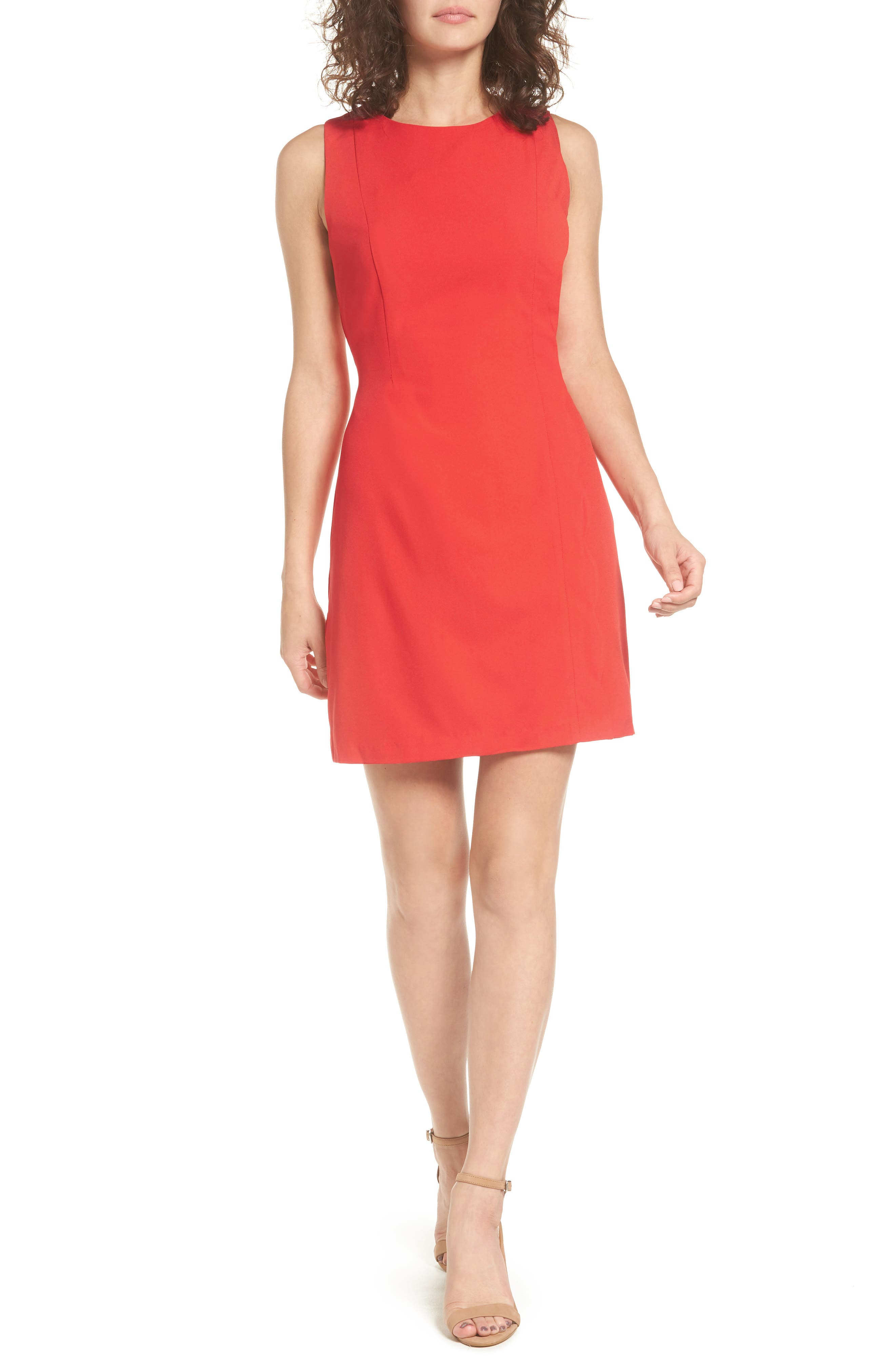 As U Wish Scallop Trim Sheath Dress