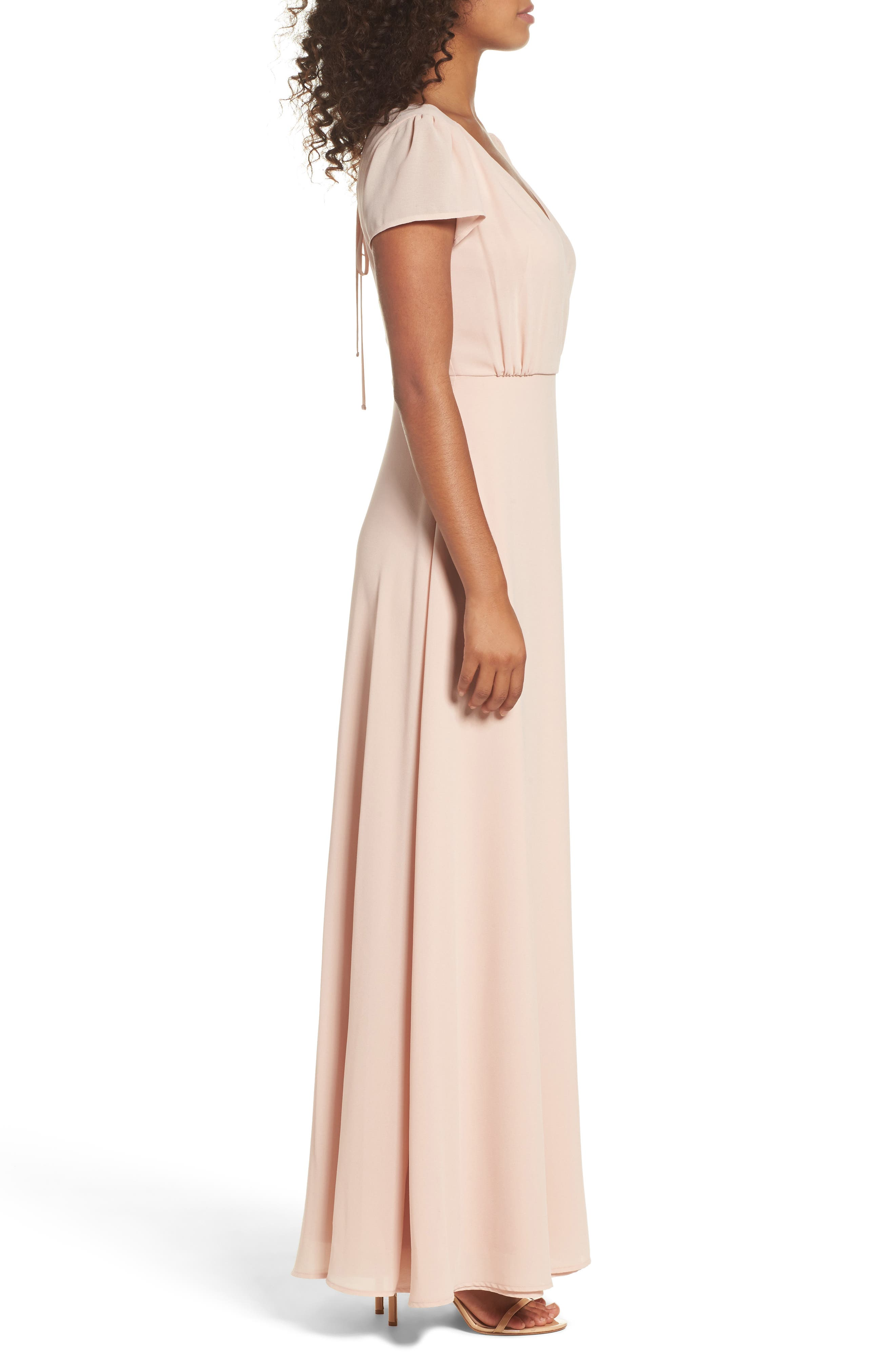 Lace-Up Back Chiffon Gown,                             Alternate thumbnail 4, color,                             Nude Blush