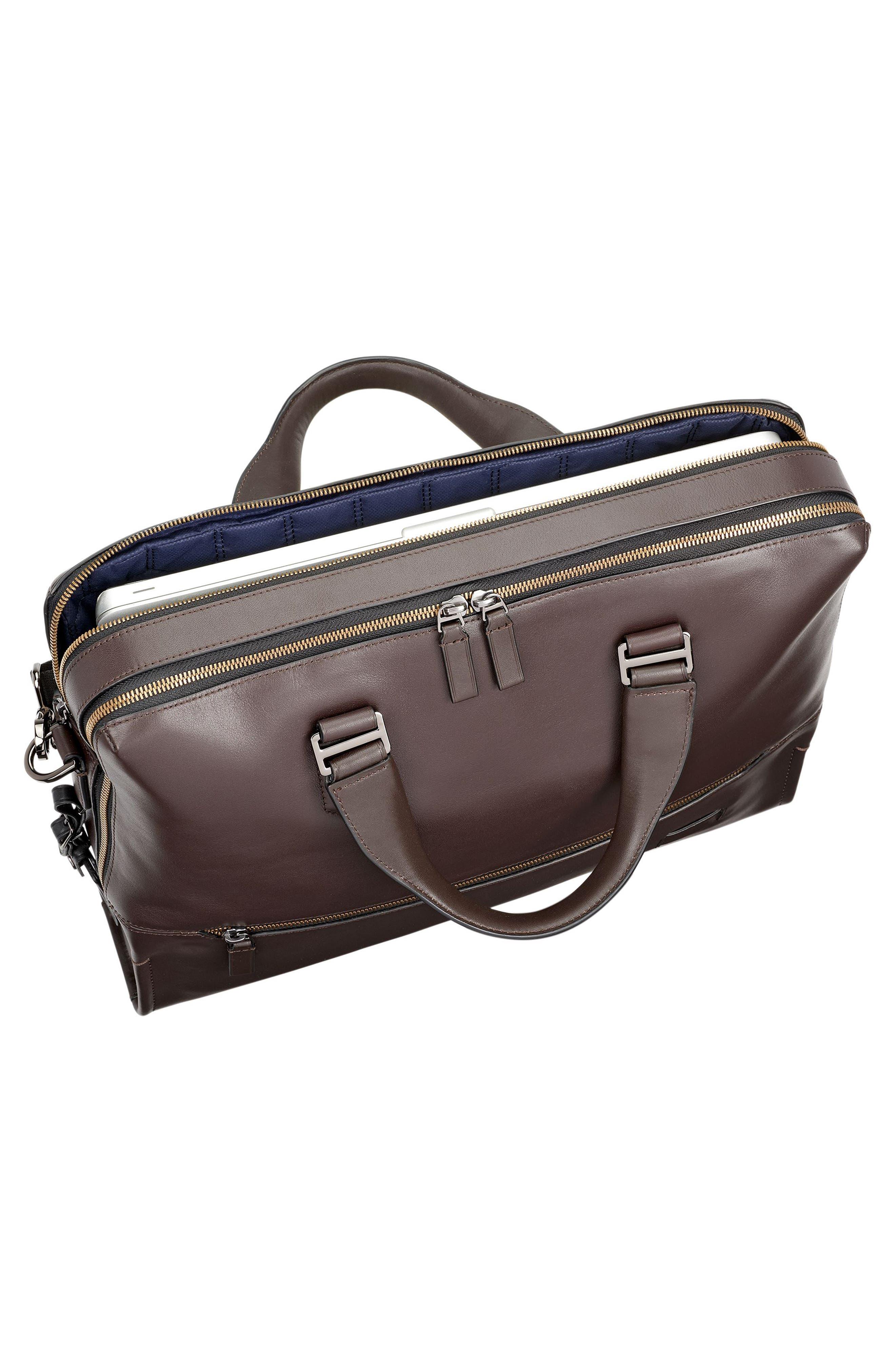 Harrison Horton Double Zip Leather Briefcase,                             Alternate thumbnail 5, color,                             Brown