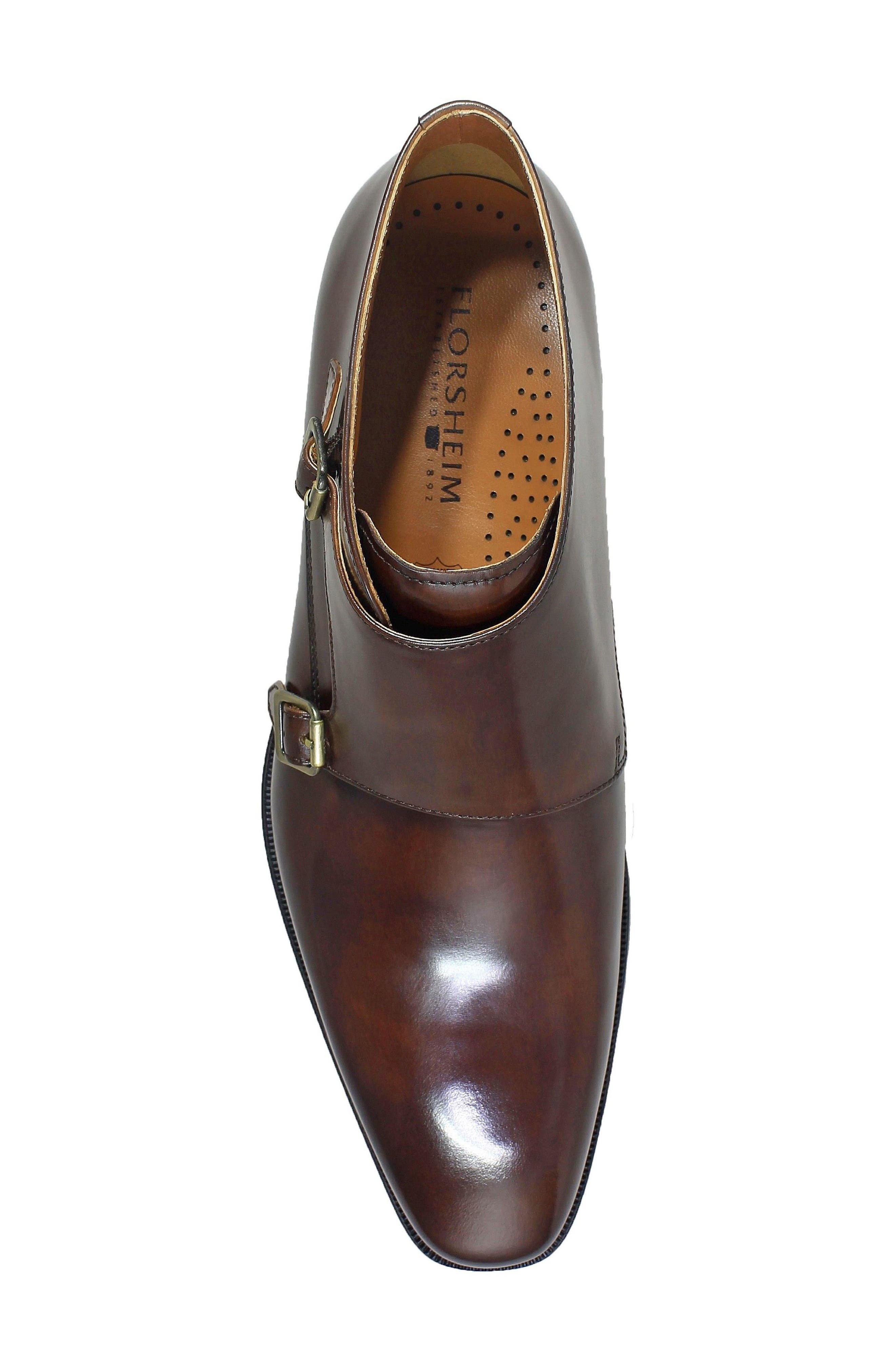 Belfast Double Monk Strap Boot,                             Alternate thumbnail 5, color,                             Brown Leather