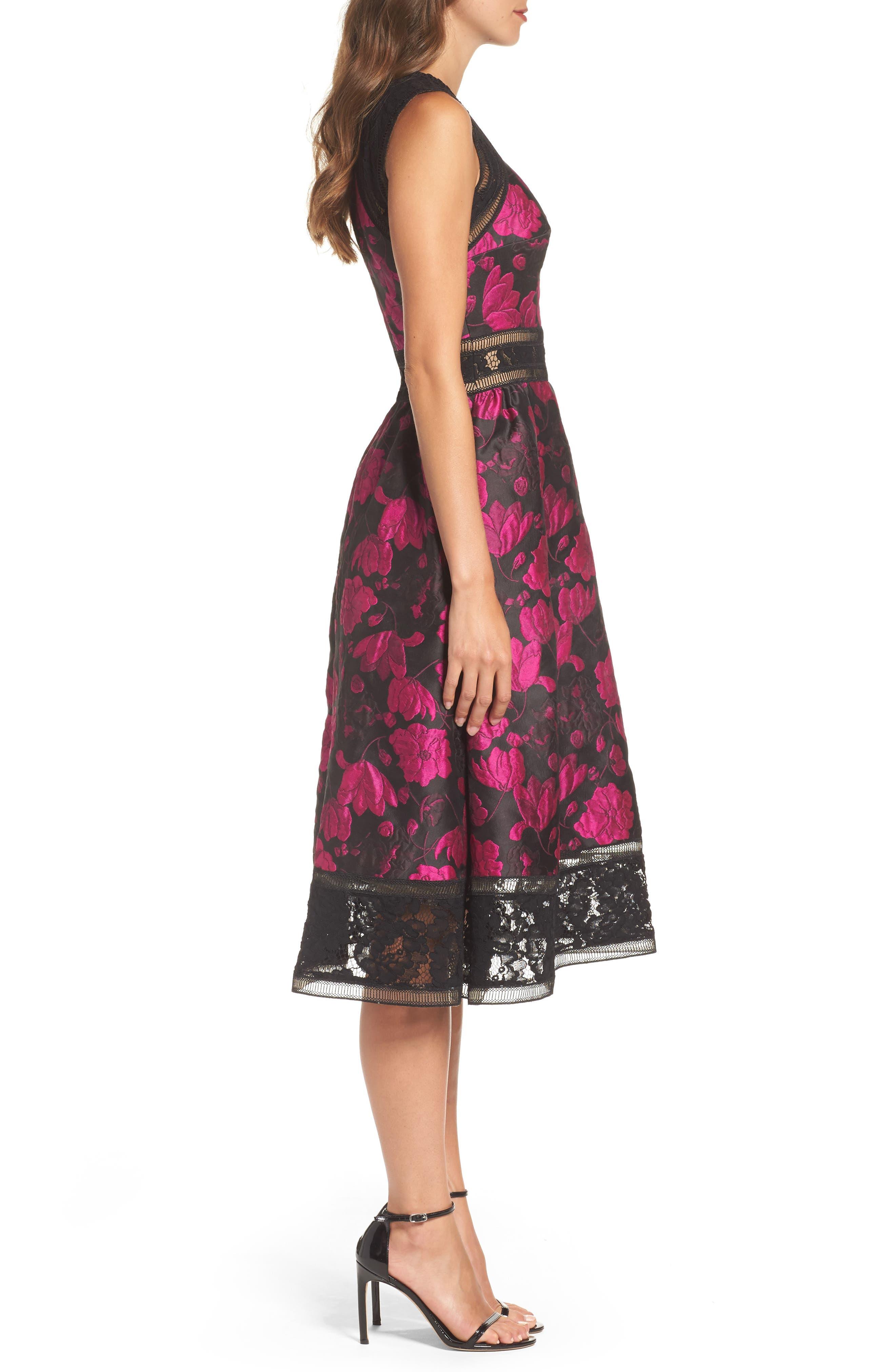 Lace Trim Rose Jacquard Midi Dress,                             Alternate thumbnail 3, color,                             Fuchsia/ Black