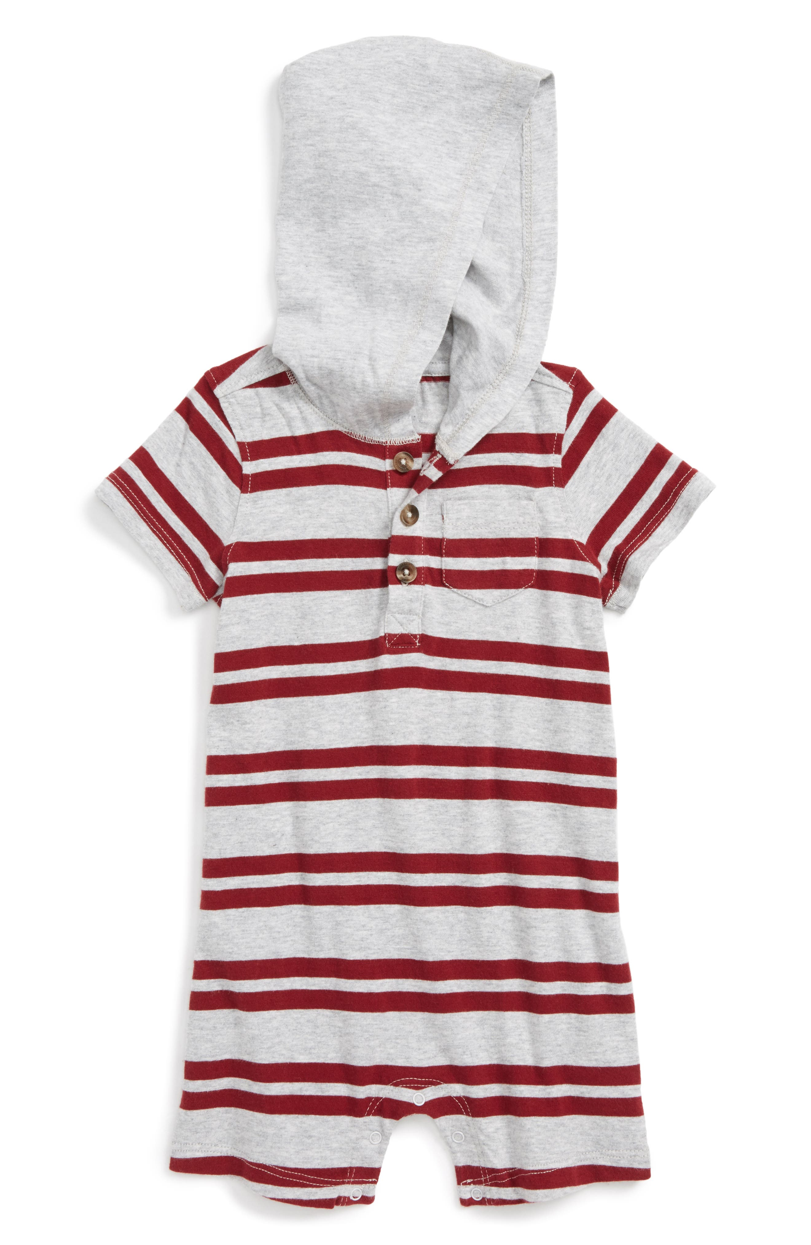 Tucker + Tate Stripe Hooded Romper (Baby Boys)