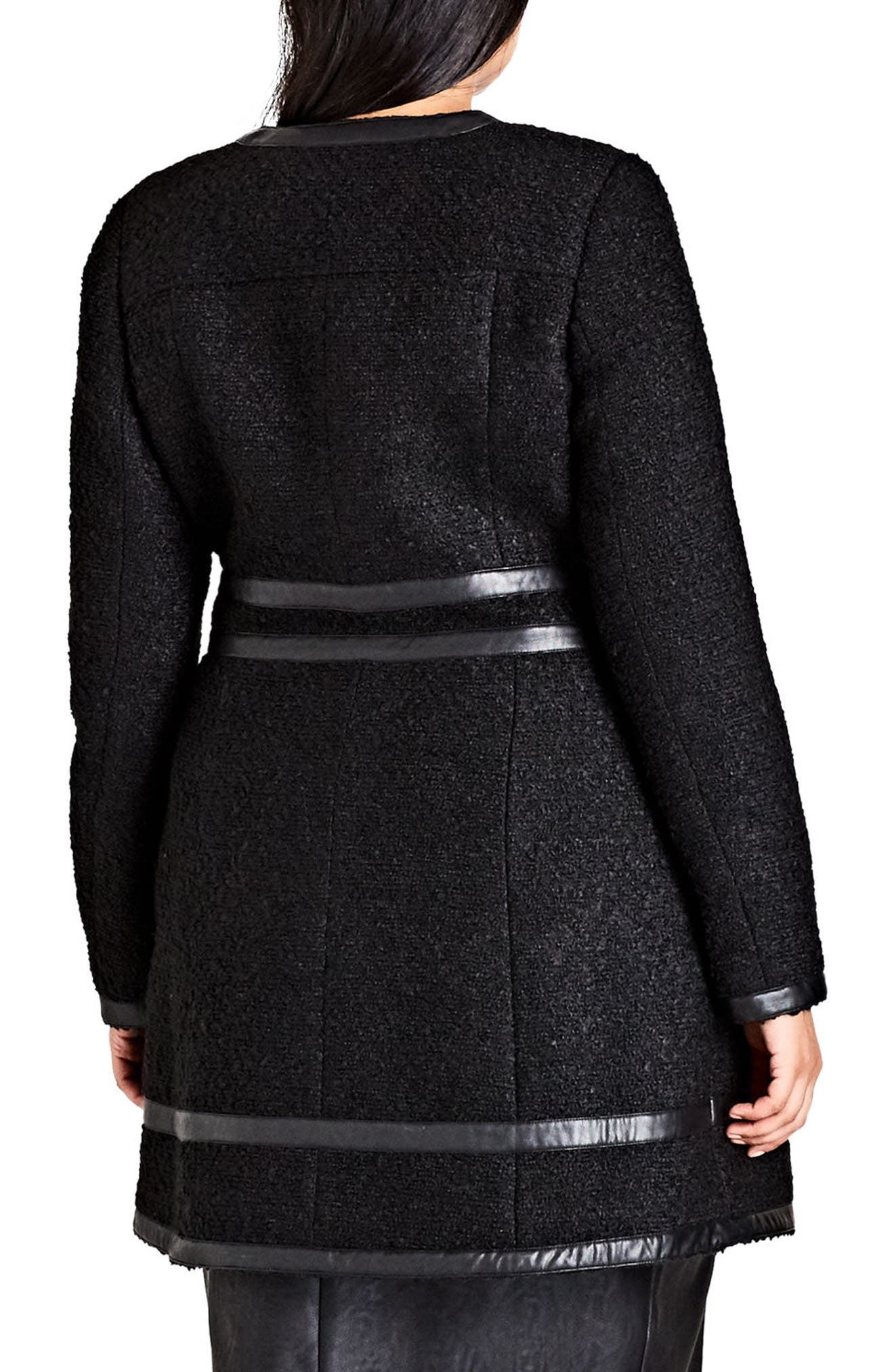 Bouclé Car Coat,                             Alternate thumbnail 2, color,                             Black