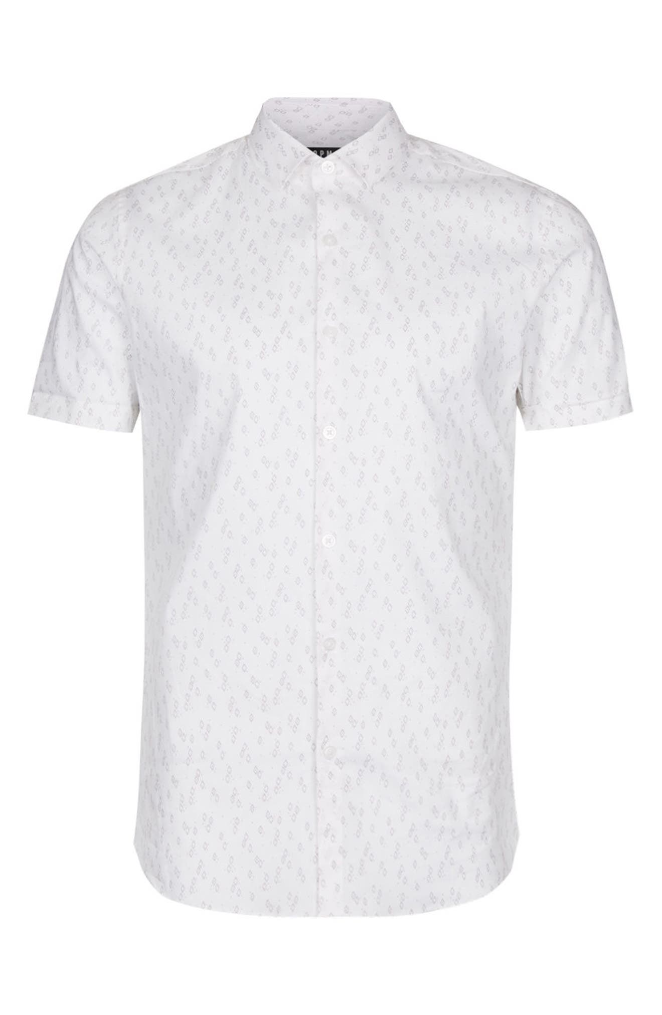 Slim Fit Geo Print Woven Shirt,                             Alternate thumbnail 4, color,                             Stone Multi