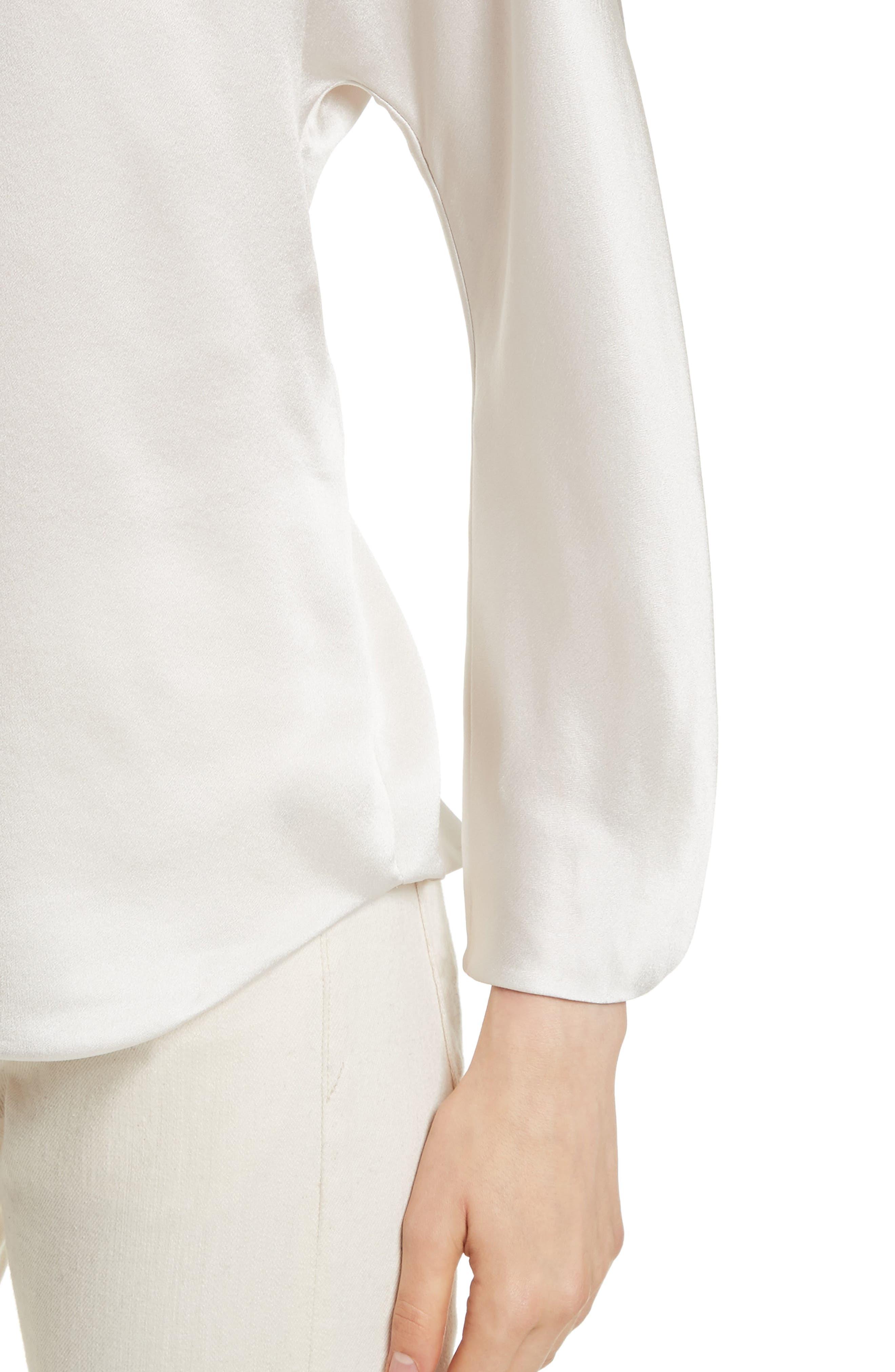 Split Back Silk Blouse,                             Alternate thumbnail 4, color,                             Whip Cream