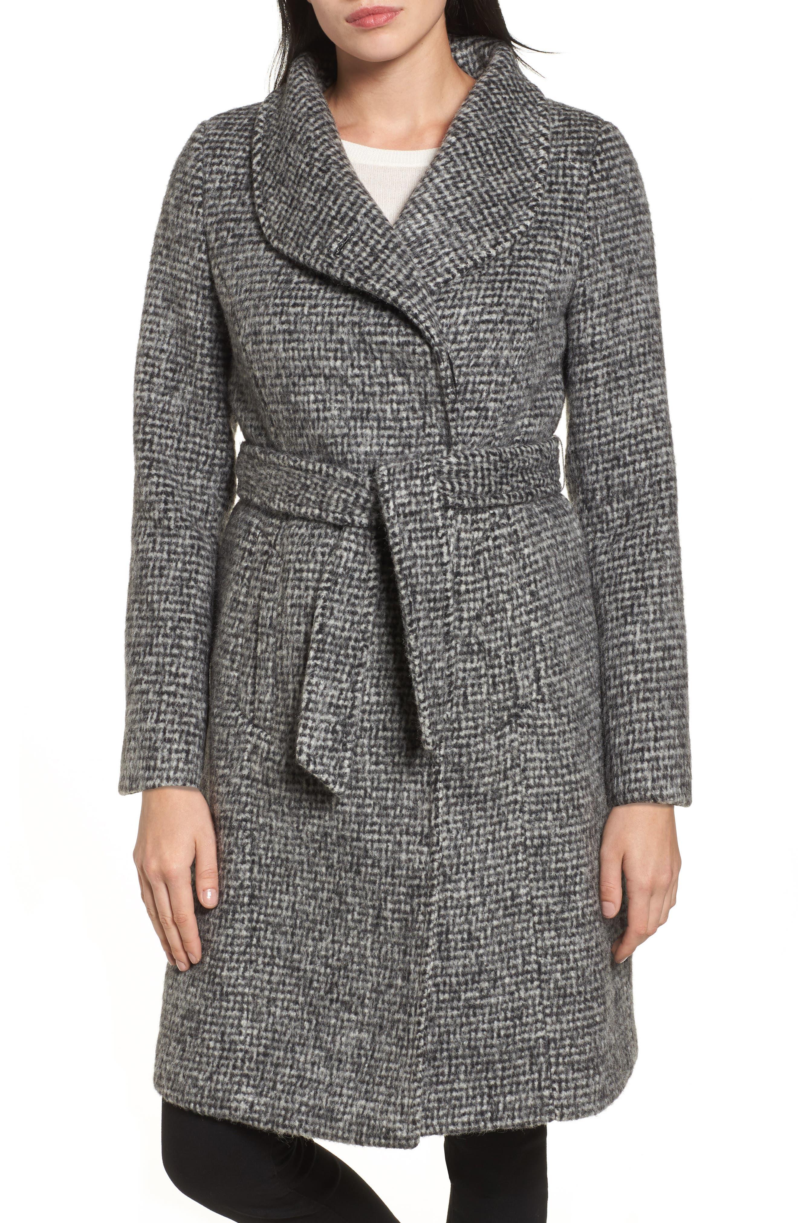 Wool Shawl Collar Wrap Coat,                         Main,                         color, Black/ White