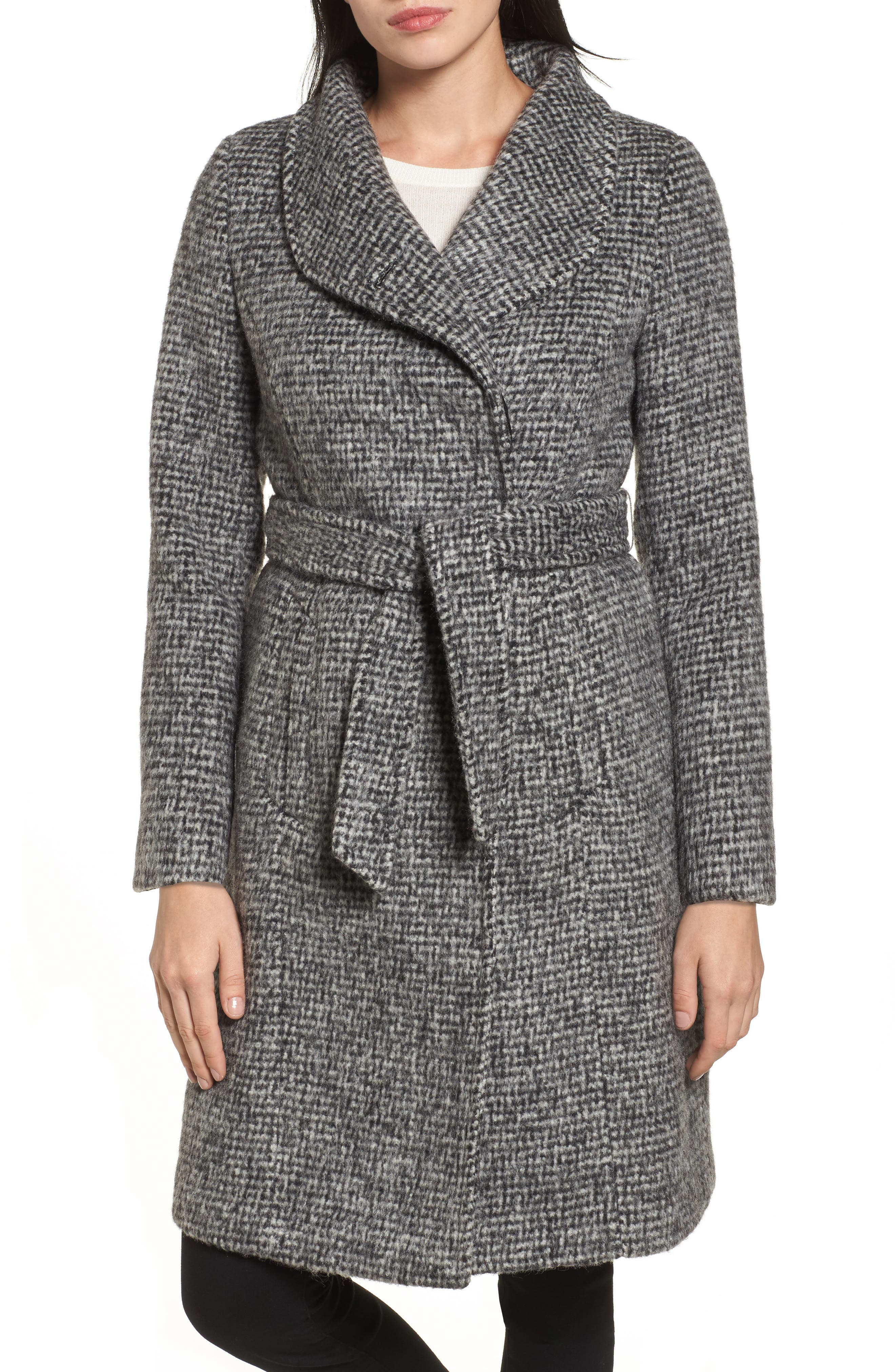 Wool Shawl Collar Wrap Coat,                         Main,                         color, Black/ White