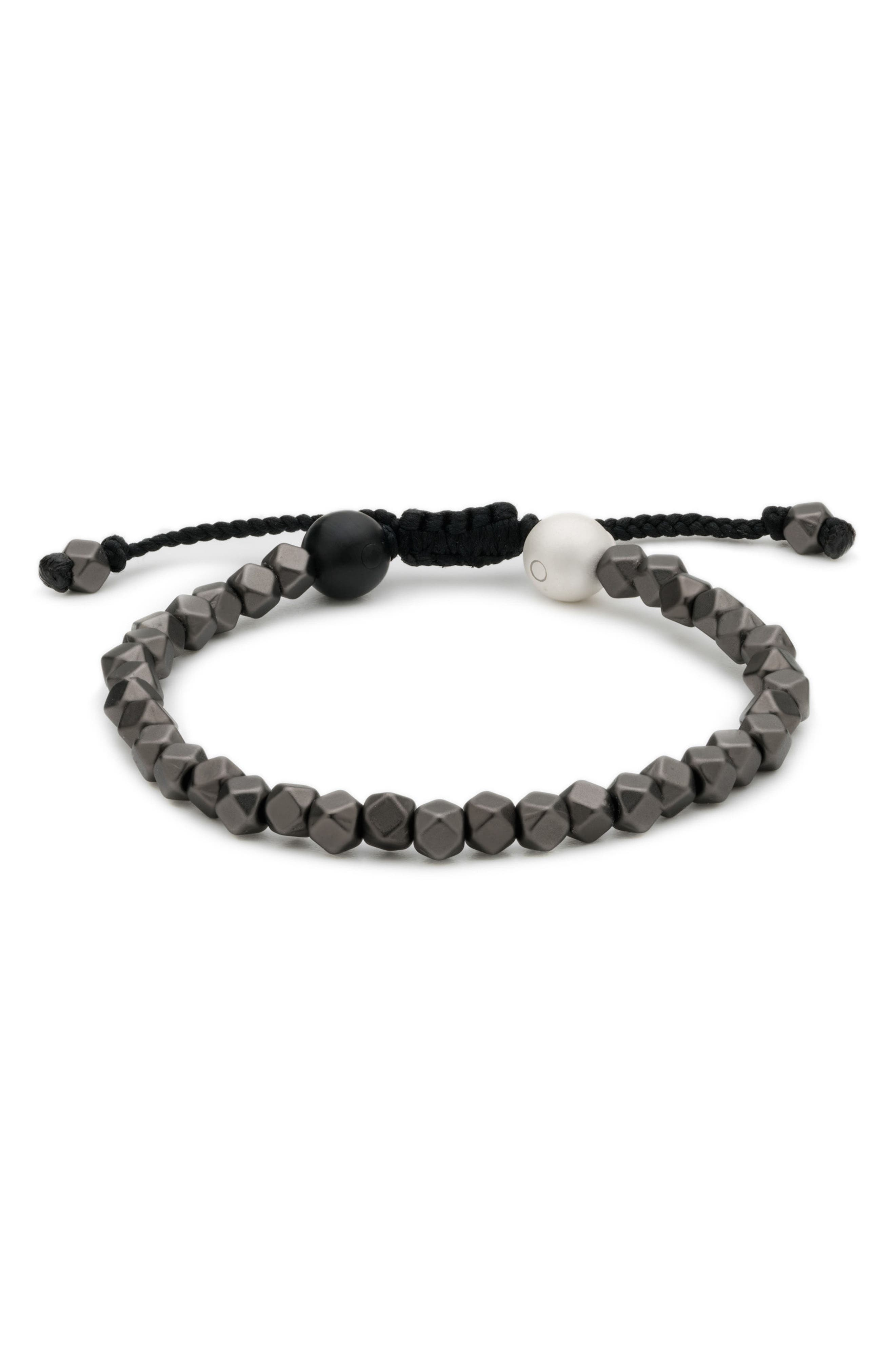 Multi Bead Bracelet,                         Main,                         color, Gunmetal