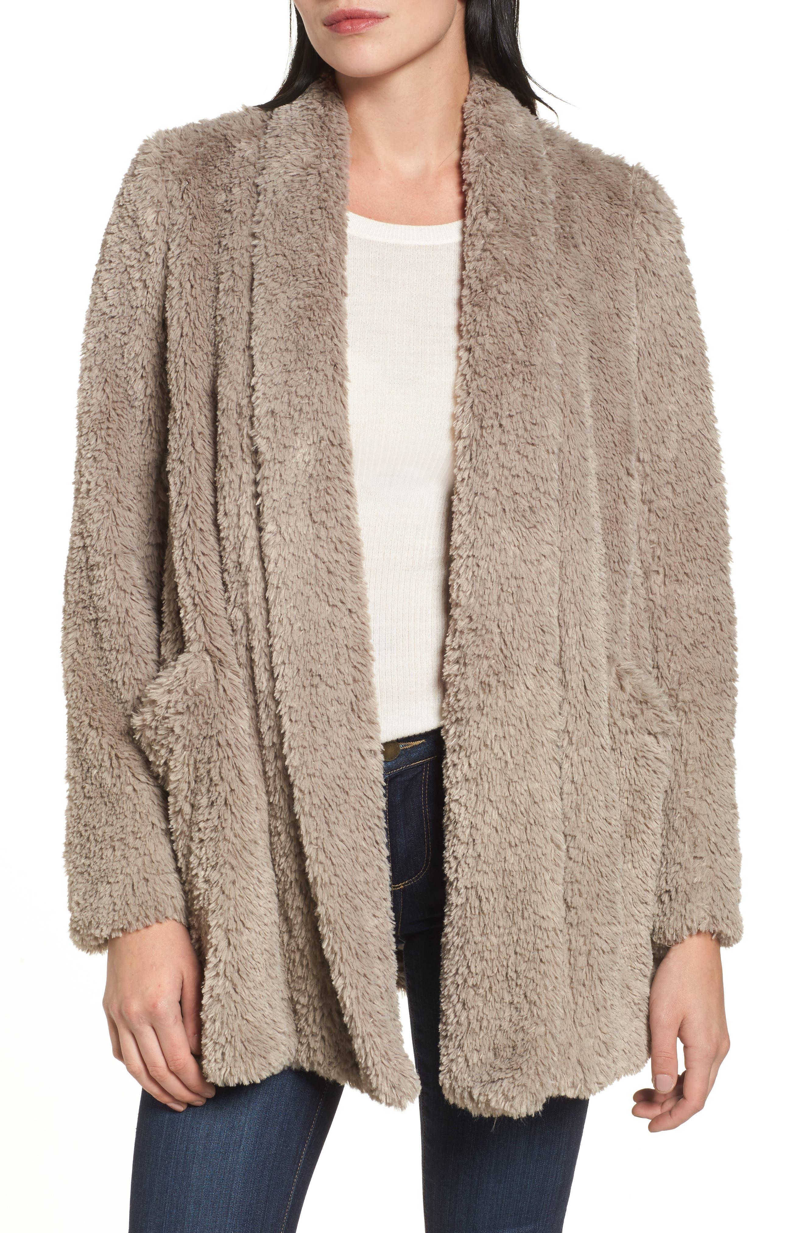 'Teddy Bear' Faux Fur Clutch Coat,                         Main,                         color, Natural