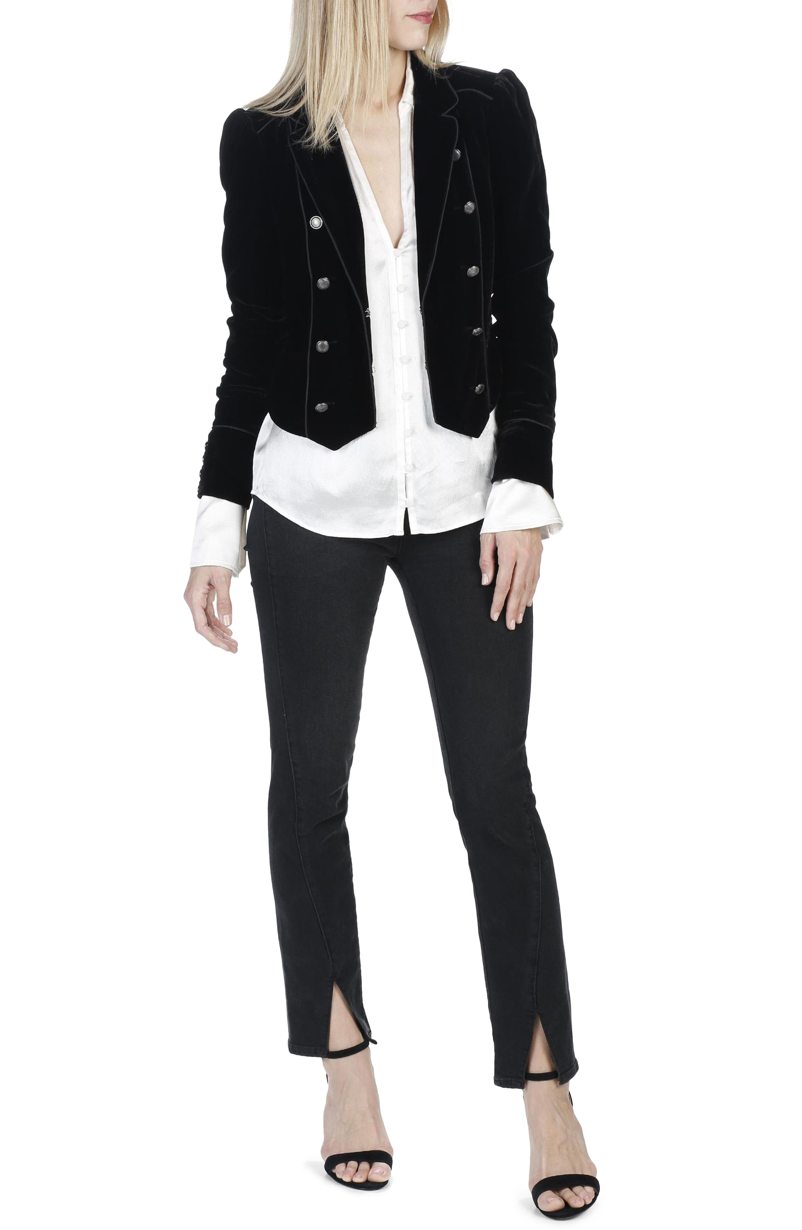 Julia High Waist Straight Leg Jeans with Twisted Seams,                             Alternate thumbnail 2, color,                             Black Fog