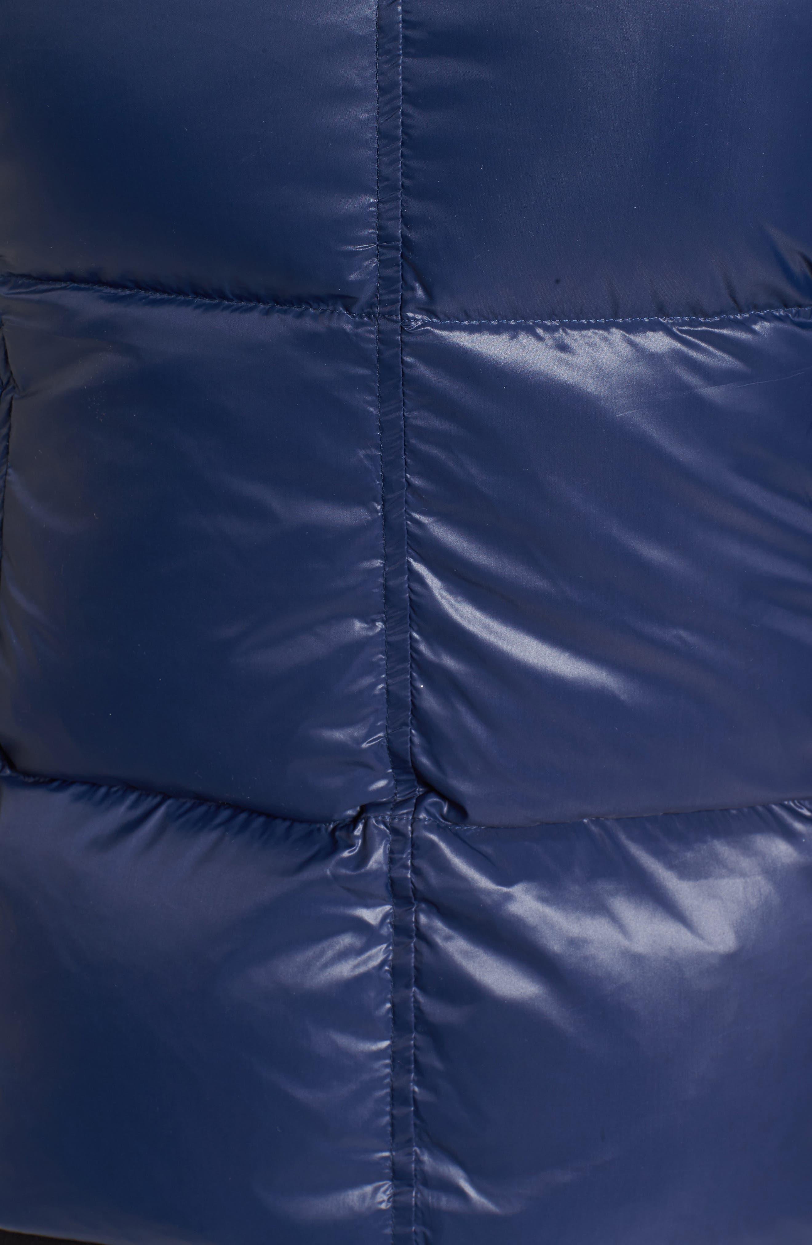 Kylie Faux Fur Trim Gloss Puffer Jacket,                             Alternate thumbnail 5, color,                             Night Blue/ Navy