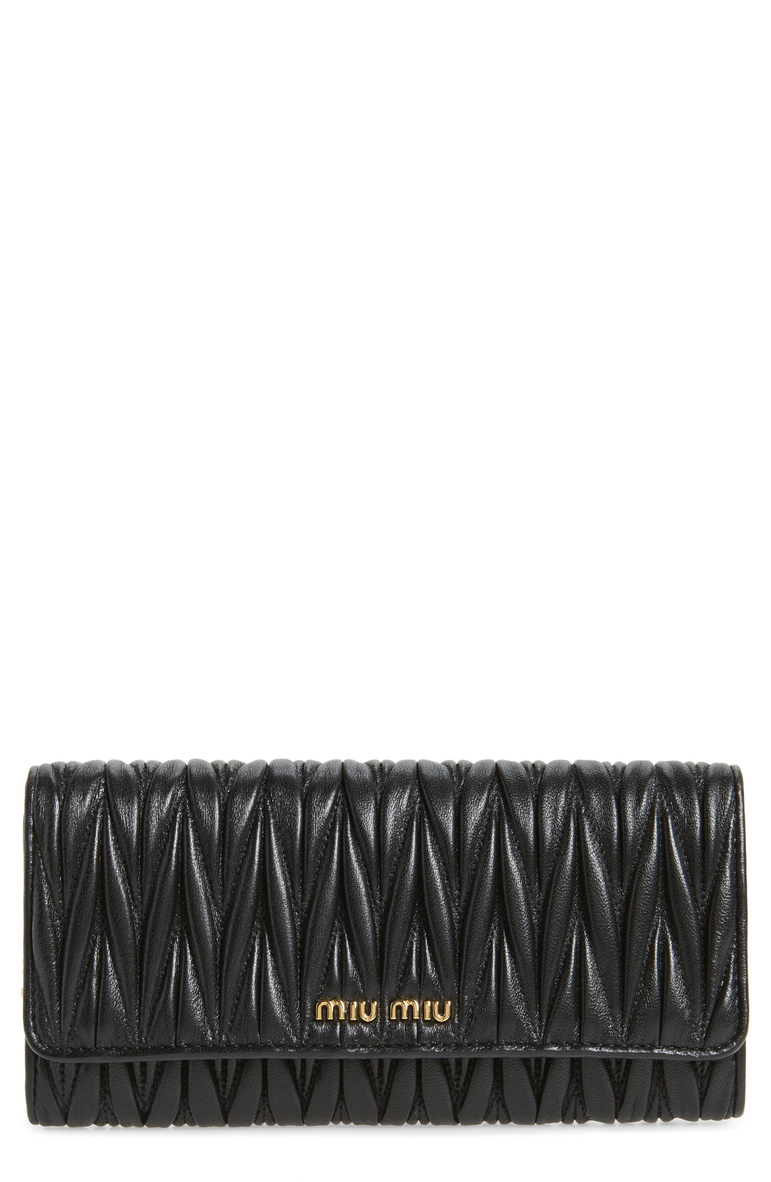 Main Image - Miu Miu Matelassé Leather Continental Wallet