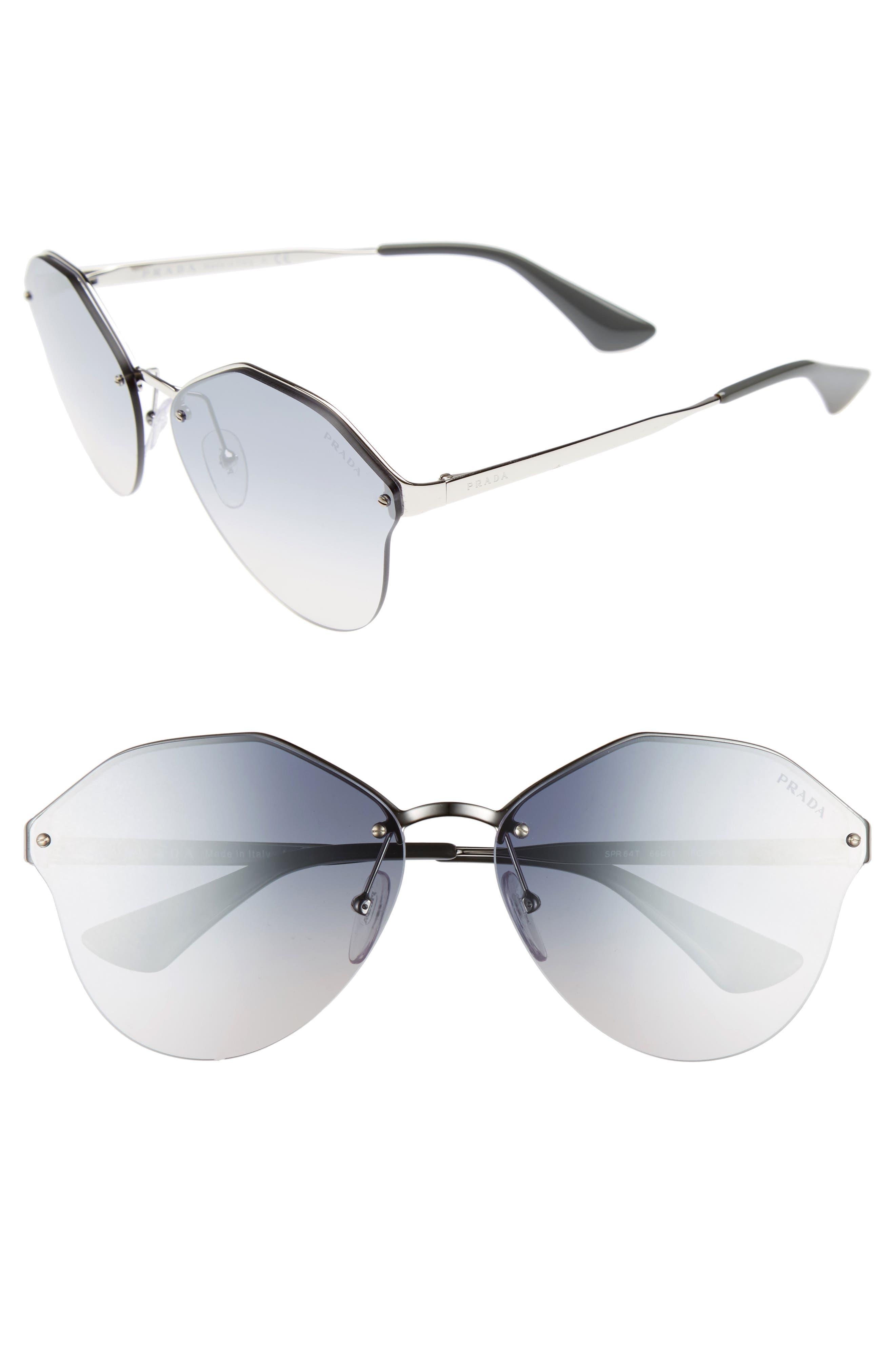 66mm Gradient Rimless Sunglasses,                         Main,                         color, Silver/ Blue