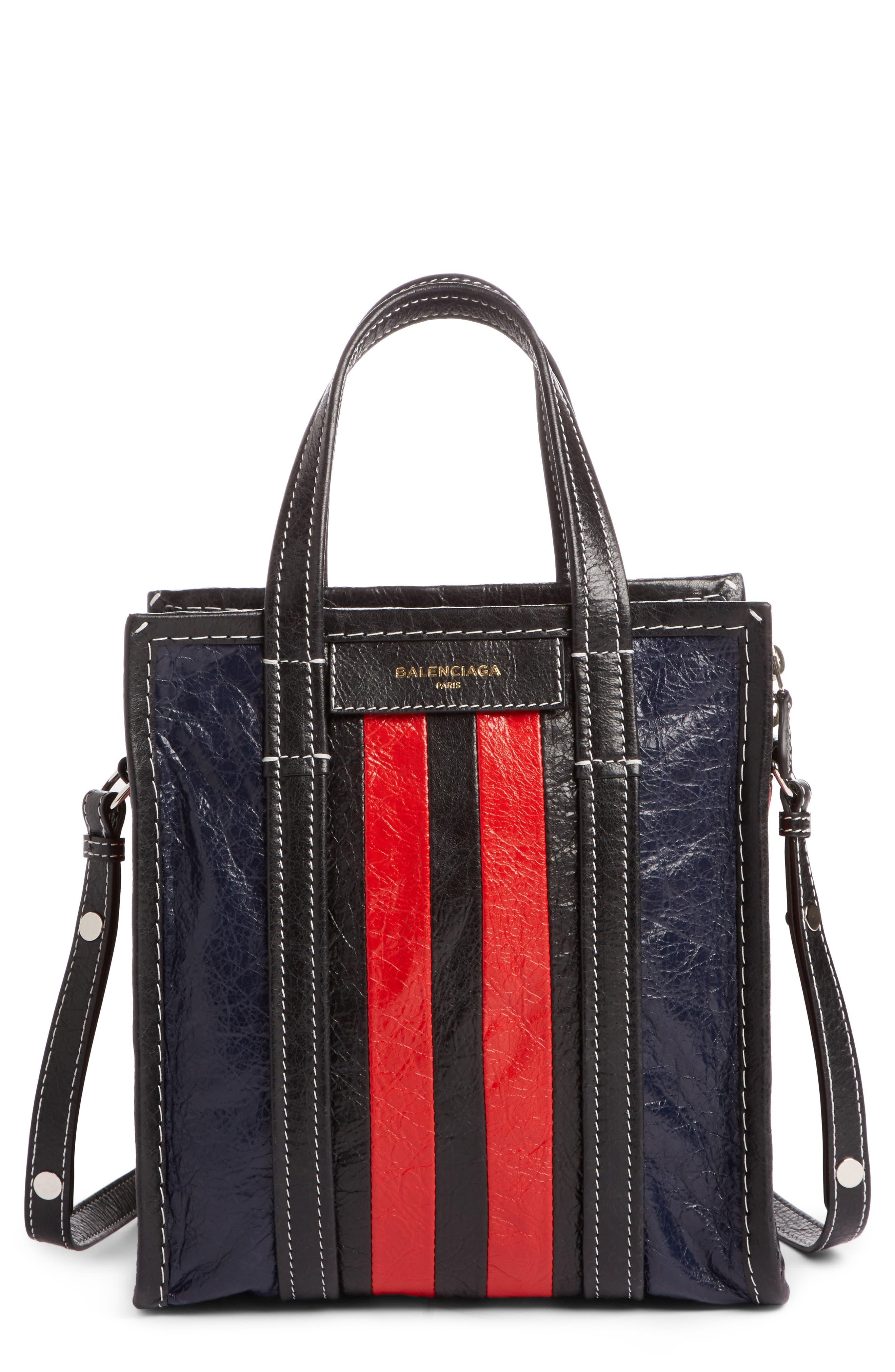 Small Bazar Leather Shopper,                         Main,                         color, Bleu Mar/ Rouge/ Noir