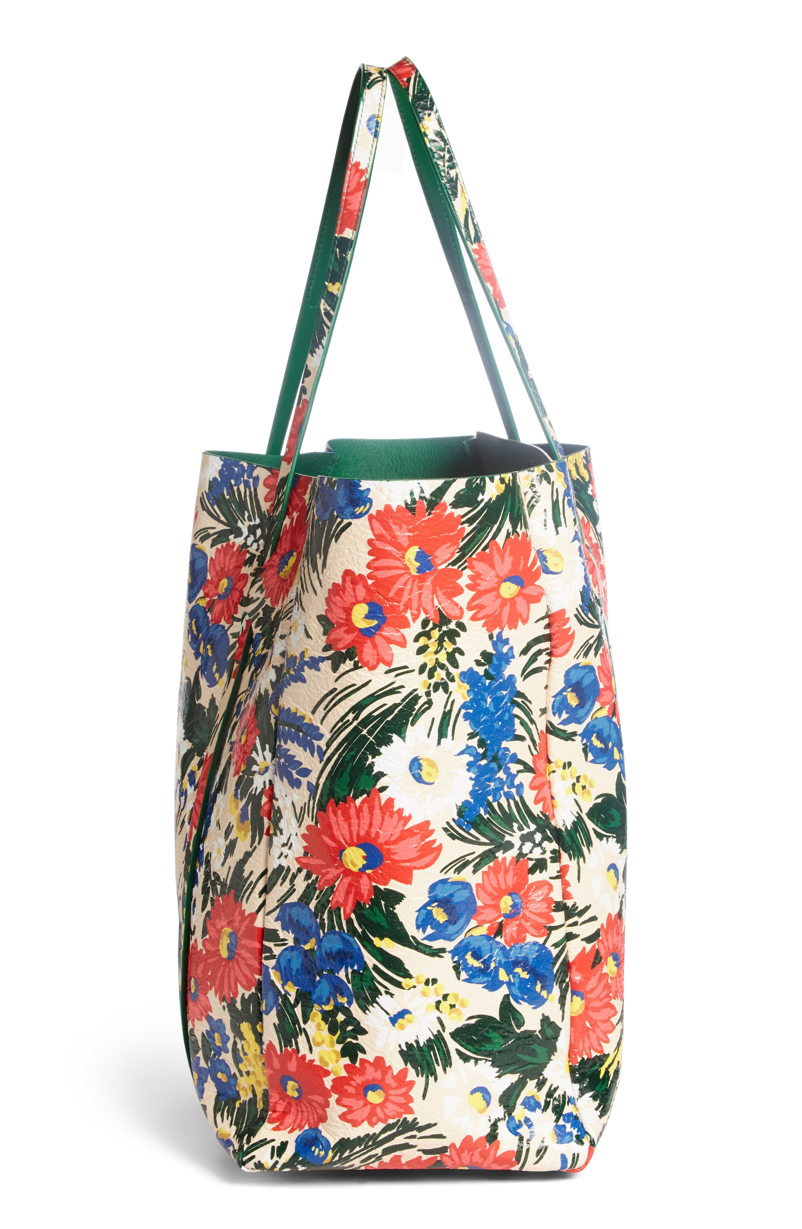 Medium Everyday Floral Leather Tote,                             Alternate thumbnail 3, color,                             Beige/ Rouge/ Vert