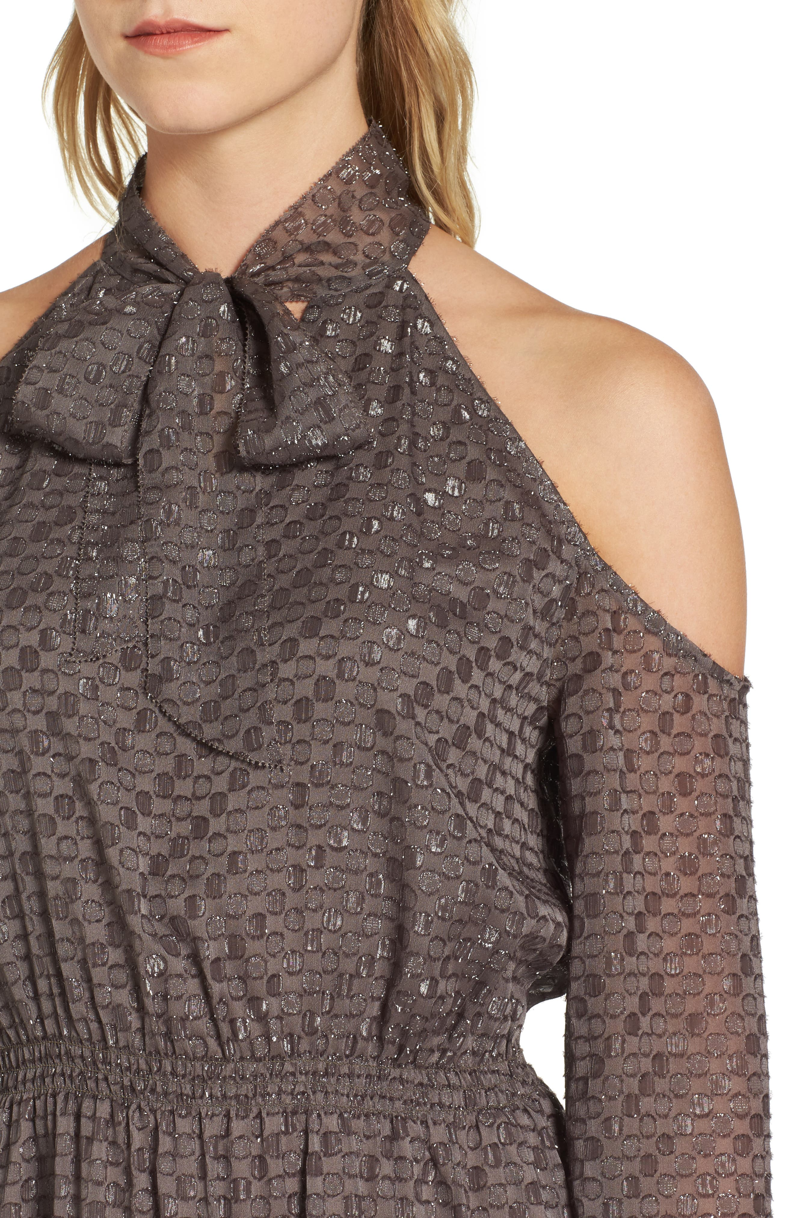 Cornelia Blouson Dress,                             Alternate thumbnail 4, color,                             Brown