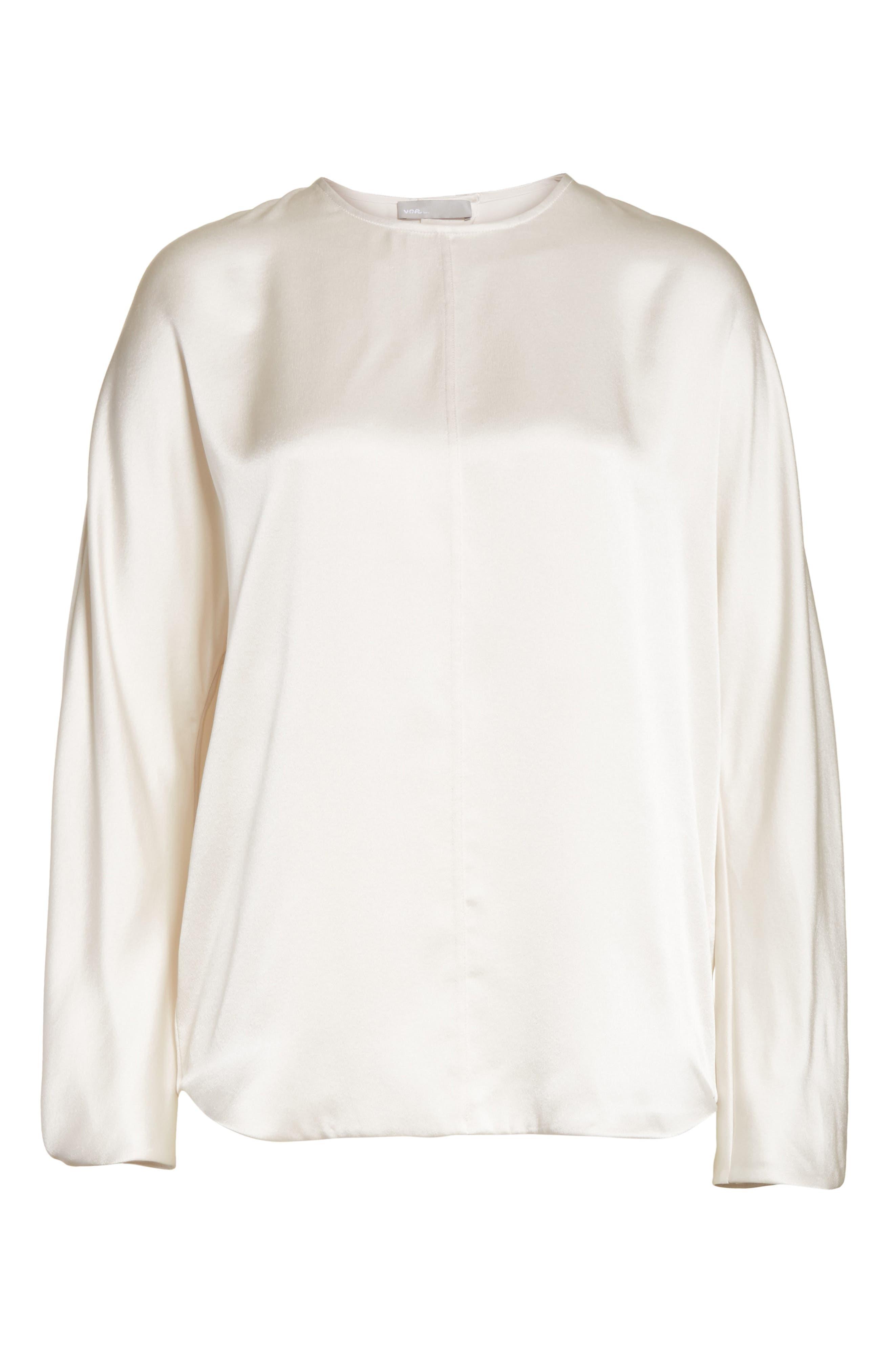Split Back Silk Blouse,                             Alternate thumbnail 6, color,                             Whip Cream