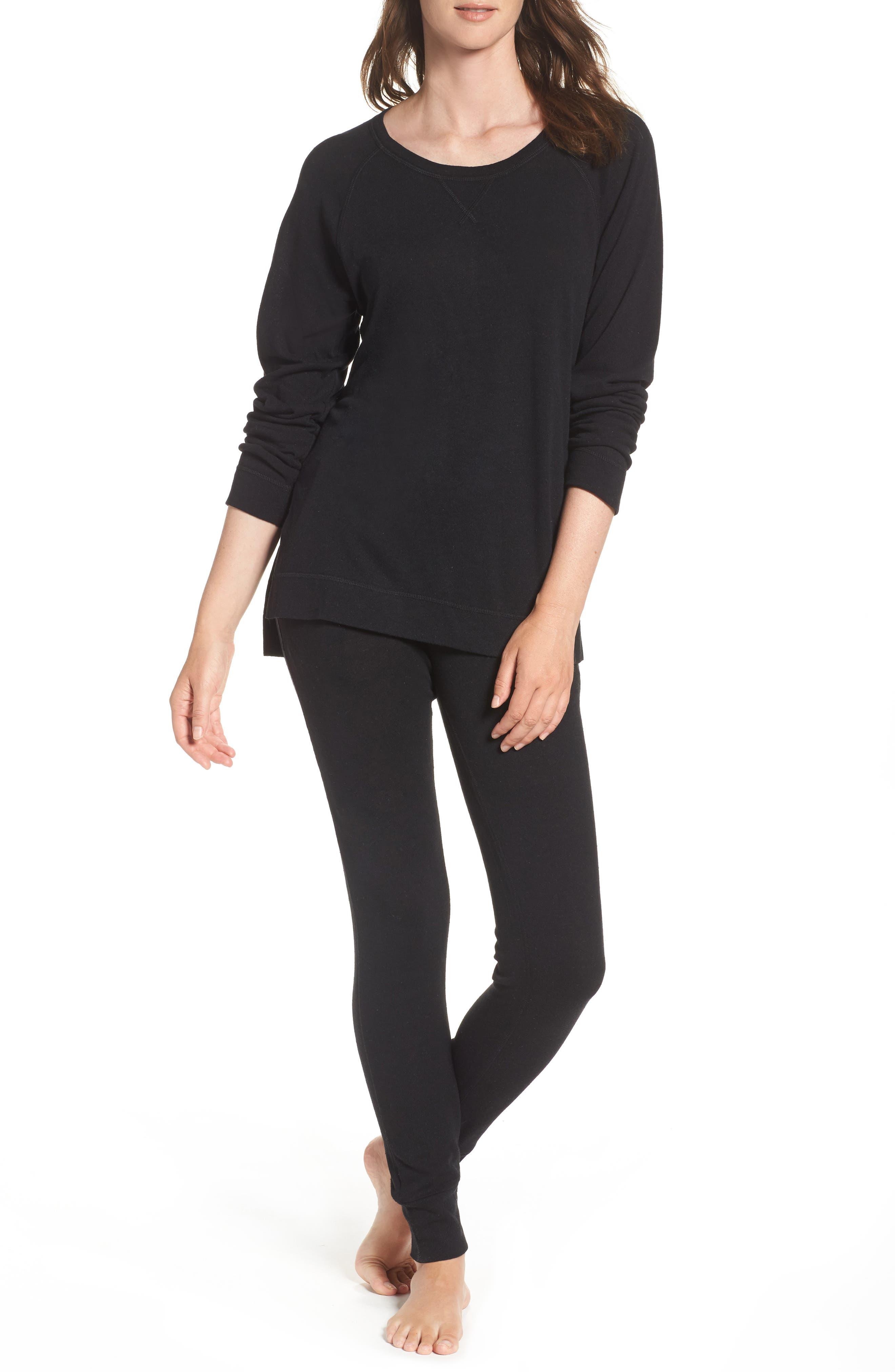 Clementine Cotton & Silk Pajama Pants,                             Alternate thumbnail 4, color,                             Black