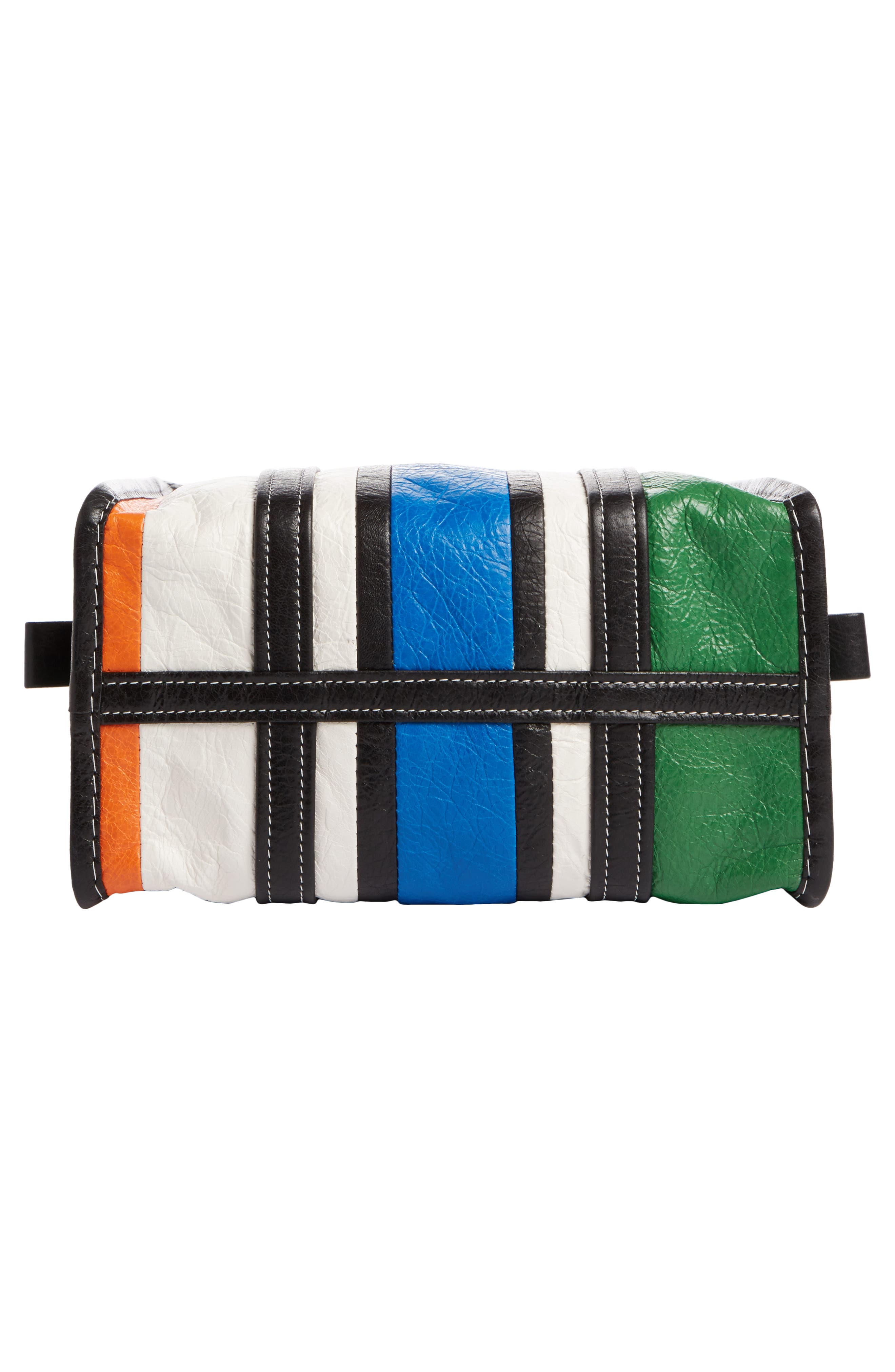 Extra Small Bazar Leather Shopper,                             Alternate thumbnail 4, color,                             Orange/ Blue/ Vert/ Navy