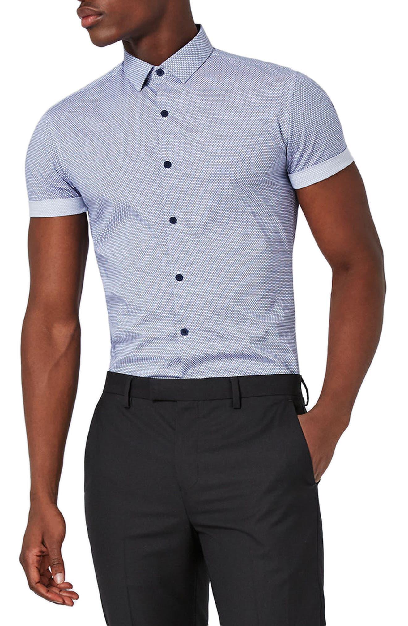Topman Slim Fit Geo Print Sport Shirt