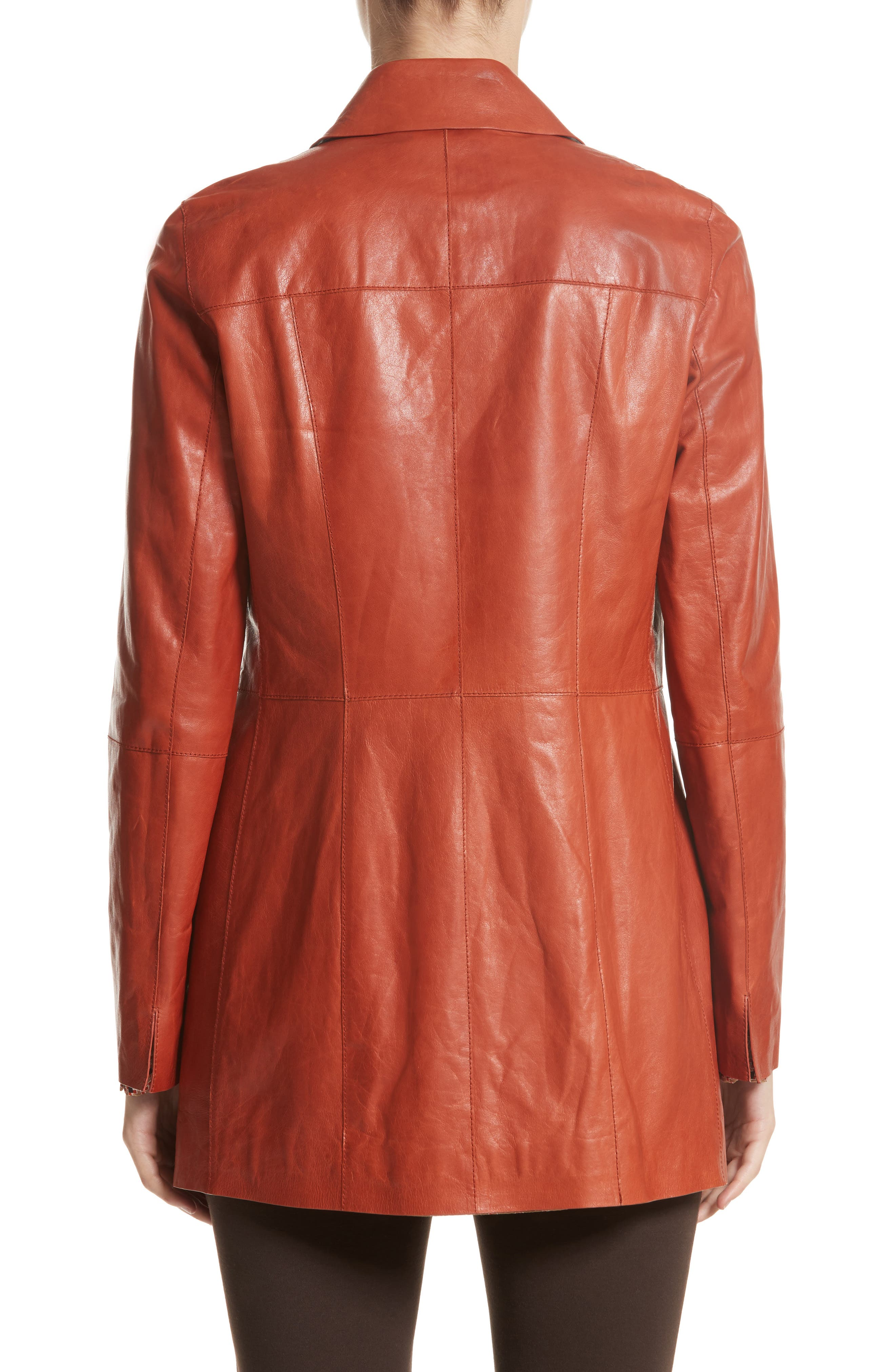 Alternate Image 2  - Lafayette 148 New York Leather Trench