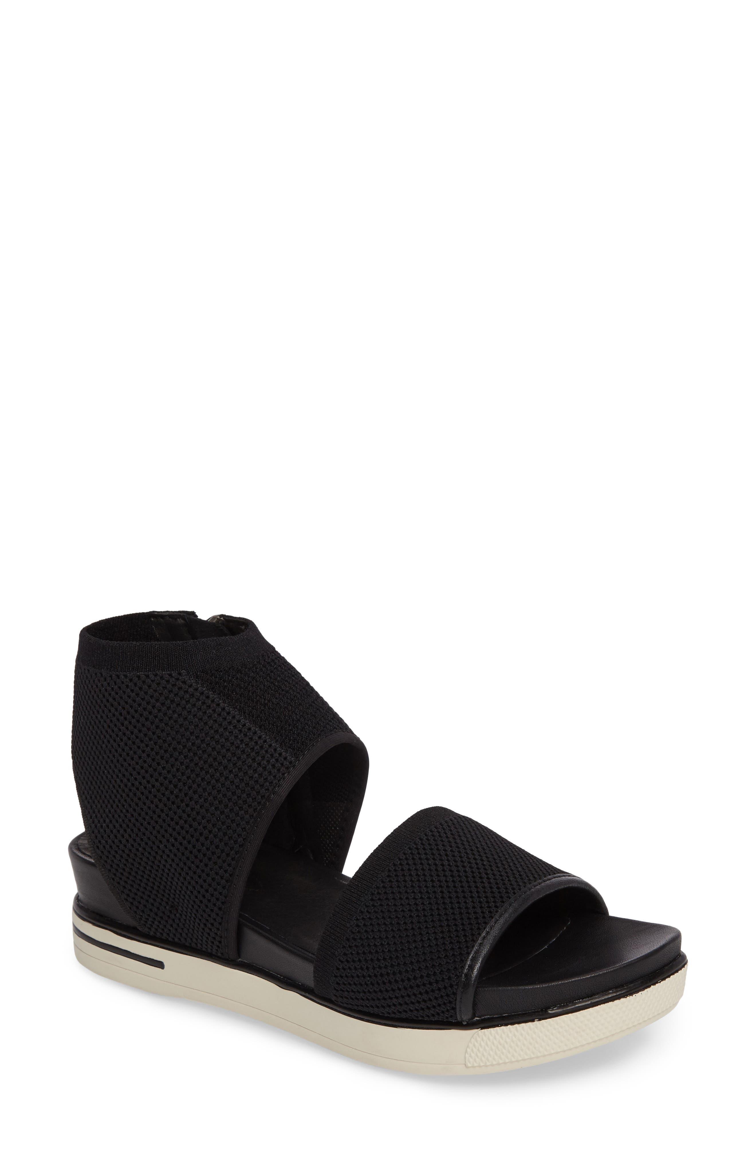 Knit Sport Sandal,                             Main thumbnail 1, color,                             Black Fabric