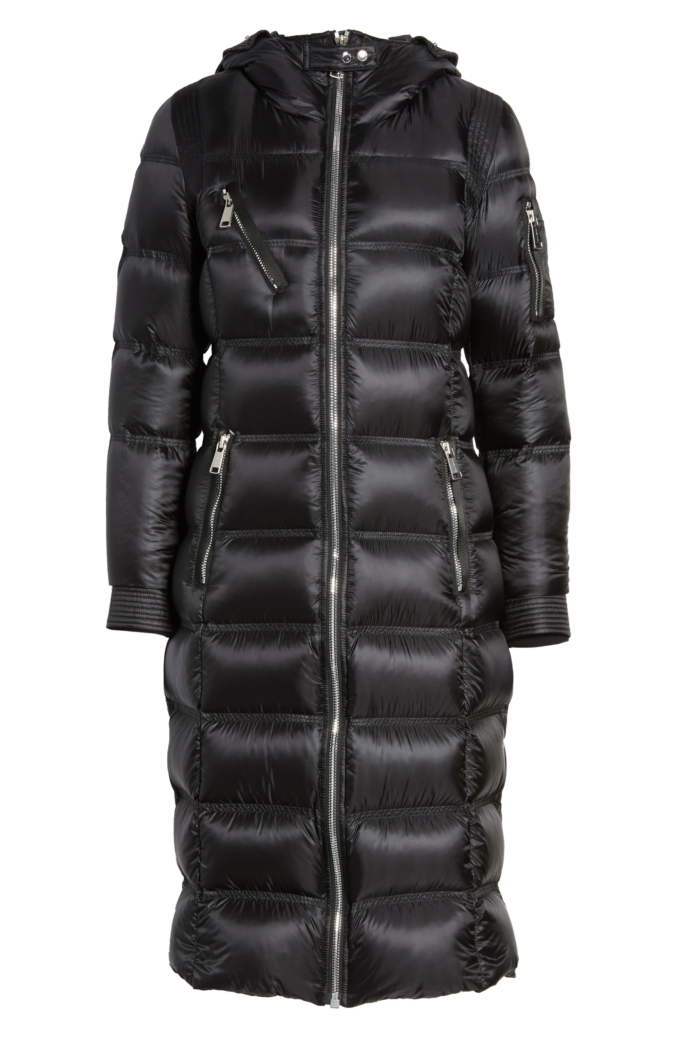 Charlize 42 Hooded Water Resistant Down Coat with Genuine Fox Fur Trim,                             Alternate thumbnail 6, color,                             Black