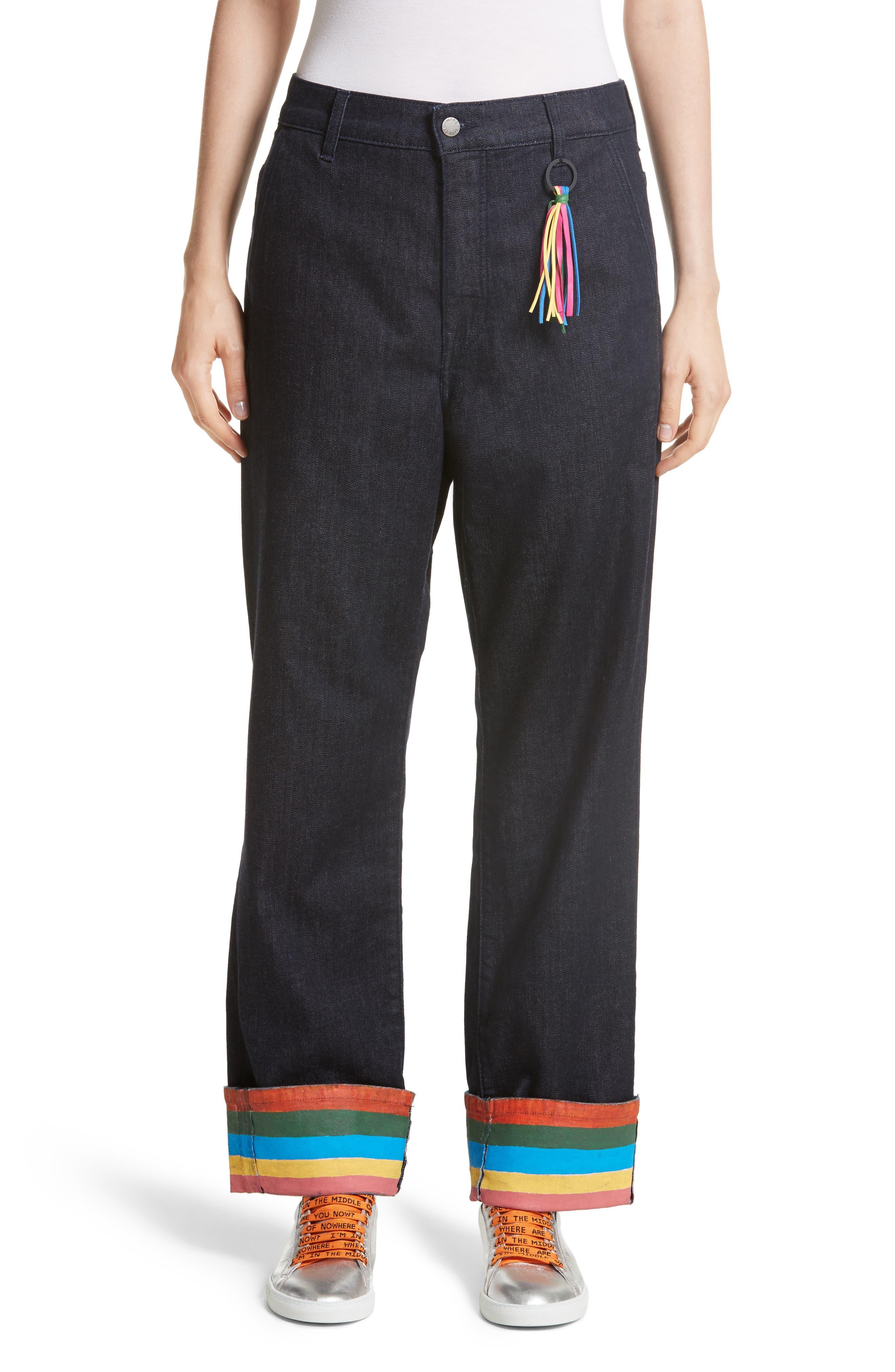 Ribbon Cuff Wide Leg Jeans,                         Main,                         color, Dark Wash