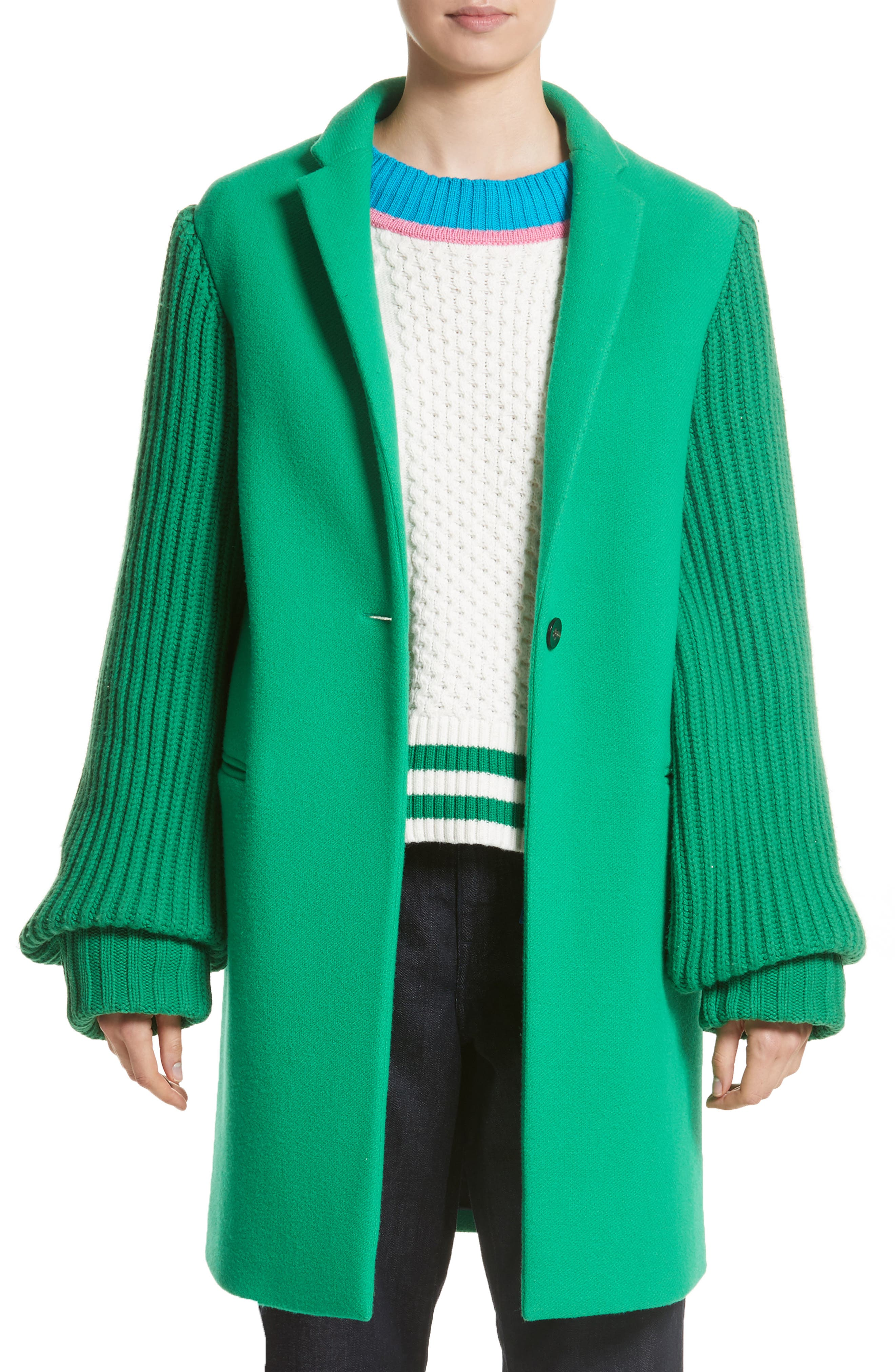 Ask Me Later Embroidered Knit Sleeve Coat,                         Main,                         color, Green