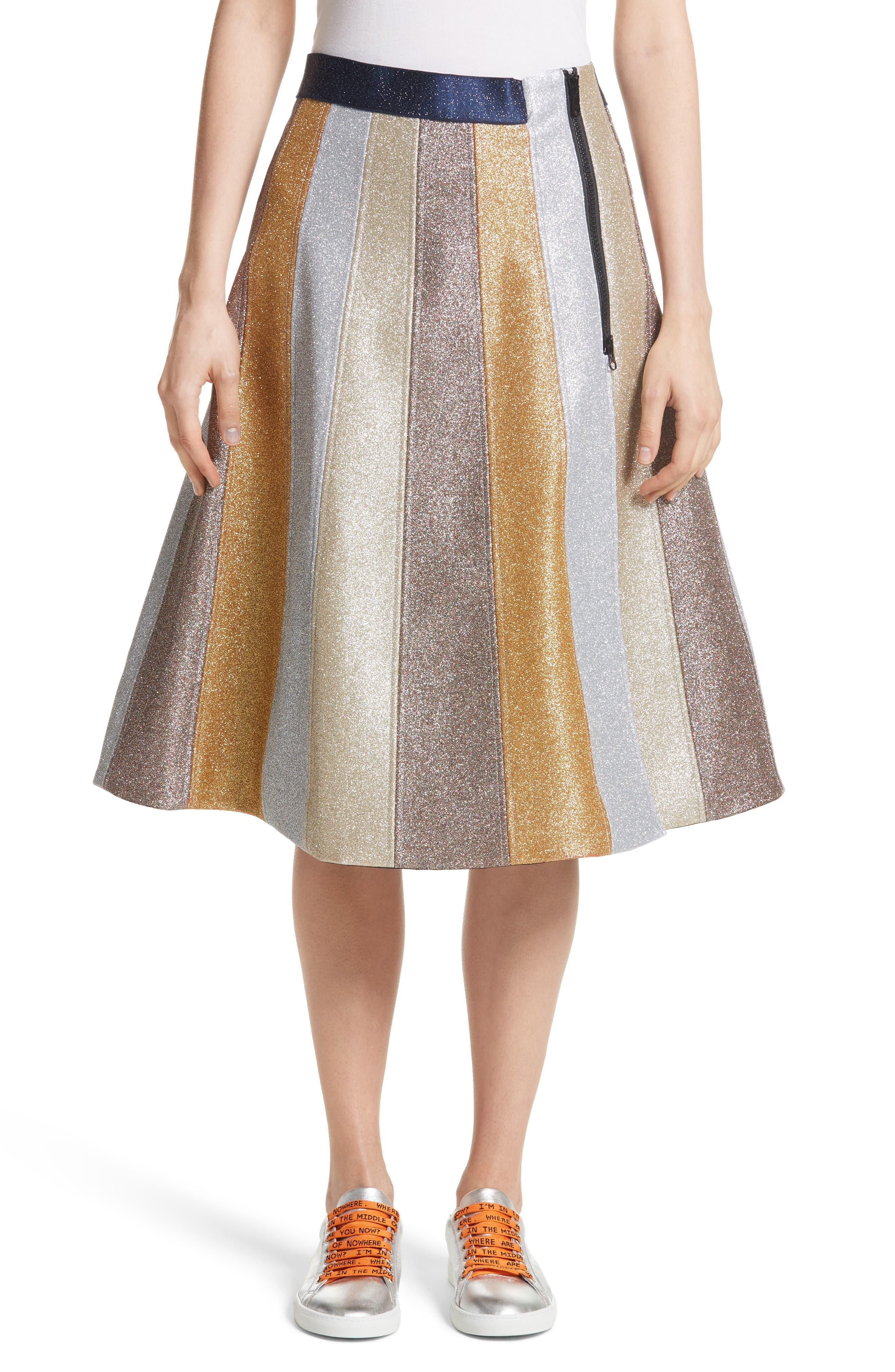 Main Image - Mira Mikati Glitter Panel A-Line Skirt