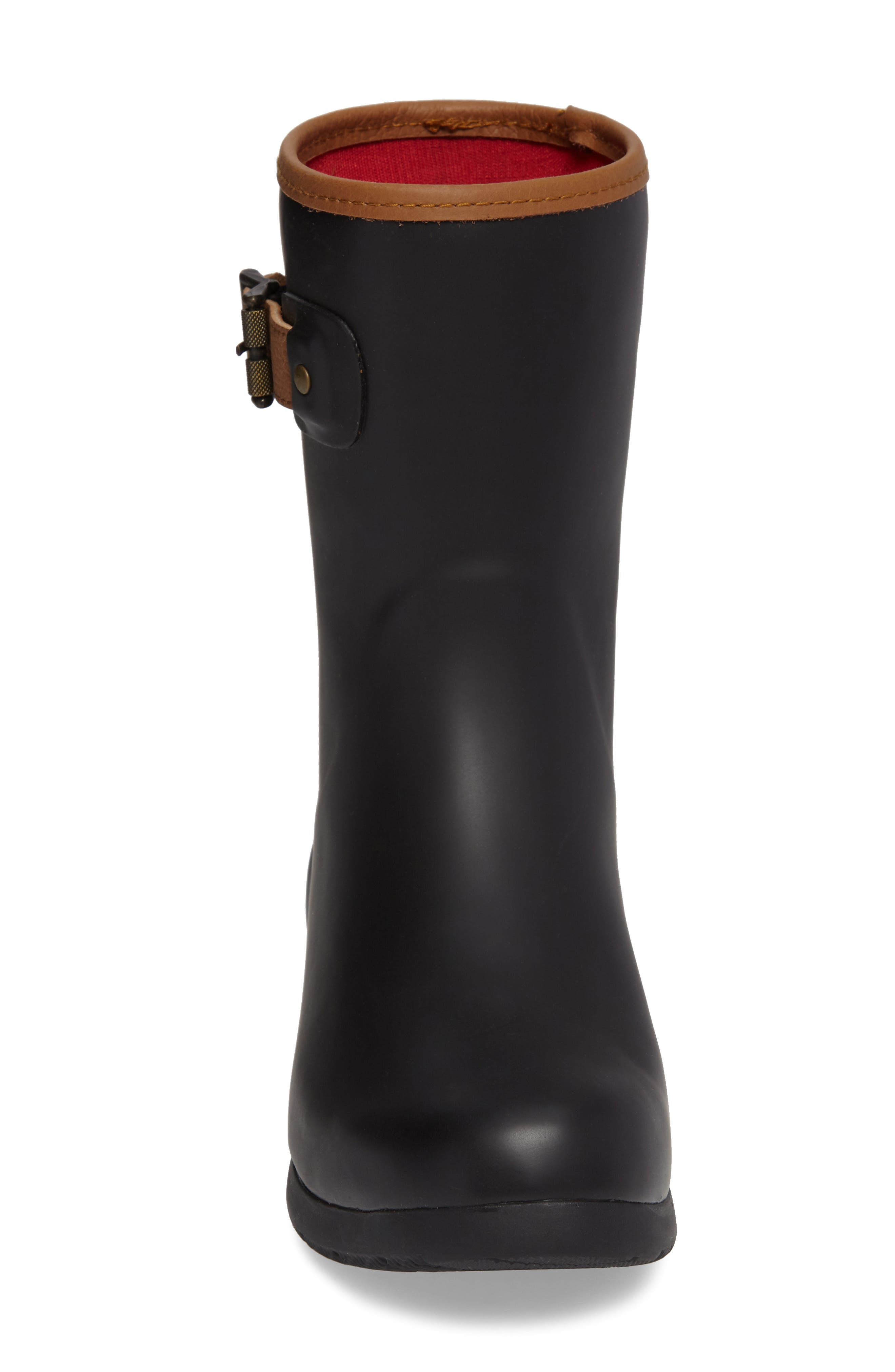 City Solid Mid Height Rain Boot,                             Alternate thumbnail 4, color,                             Black