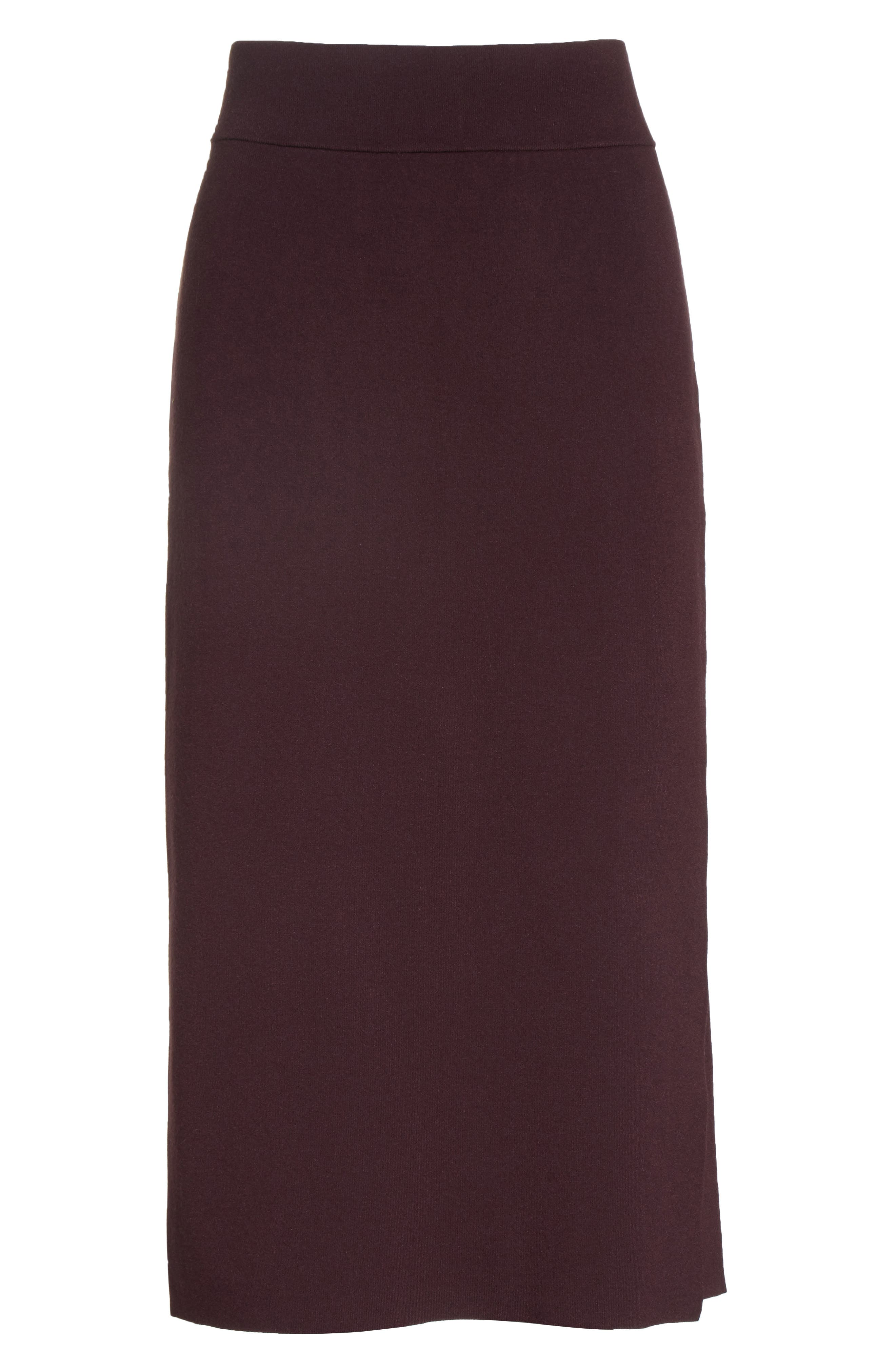 Smith Knit Pencil Skirt,                             Alternate thumbnail 7, color,                             Raisin