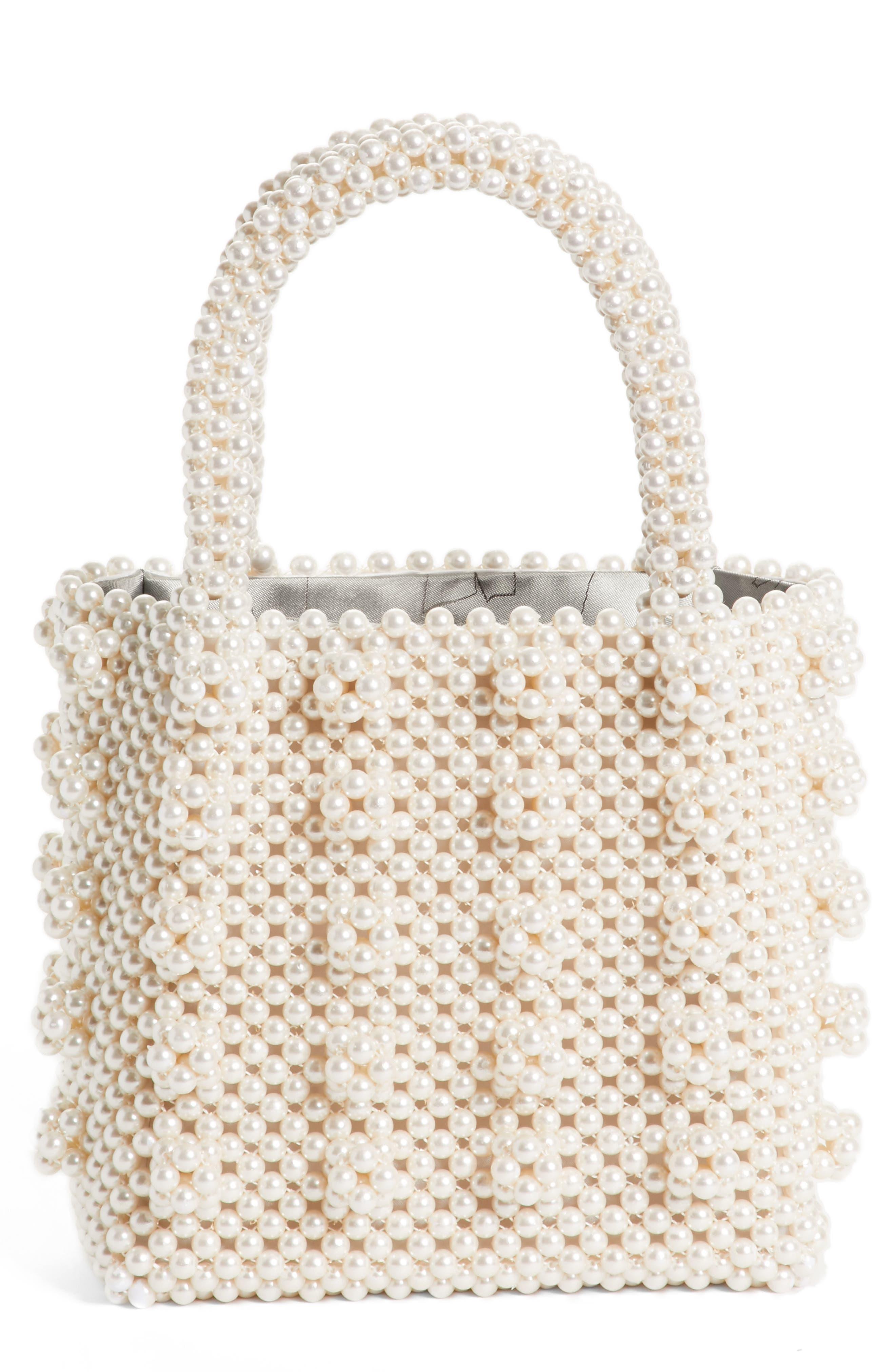 Antonia Small Imitation Pearl Beaded Handbag,                             Main thumbnail 1, color,                             Cream