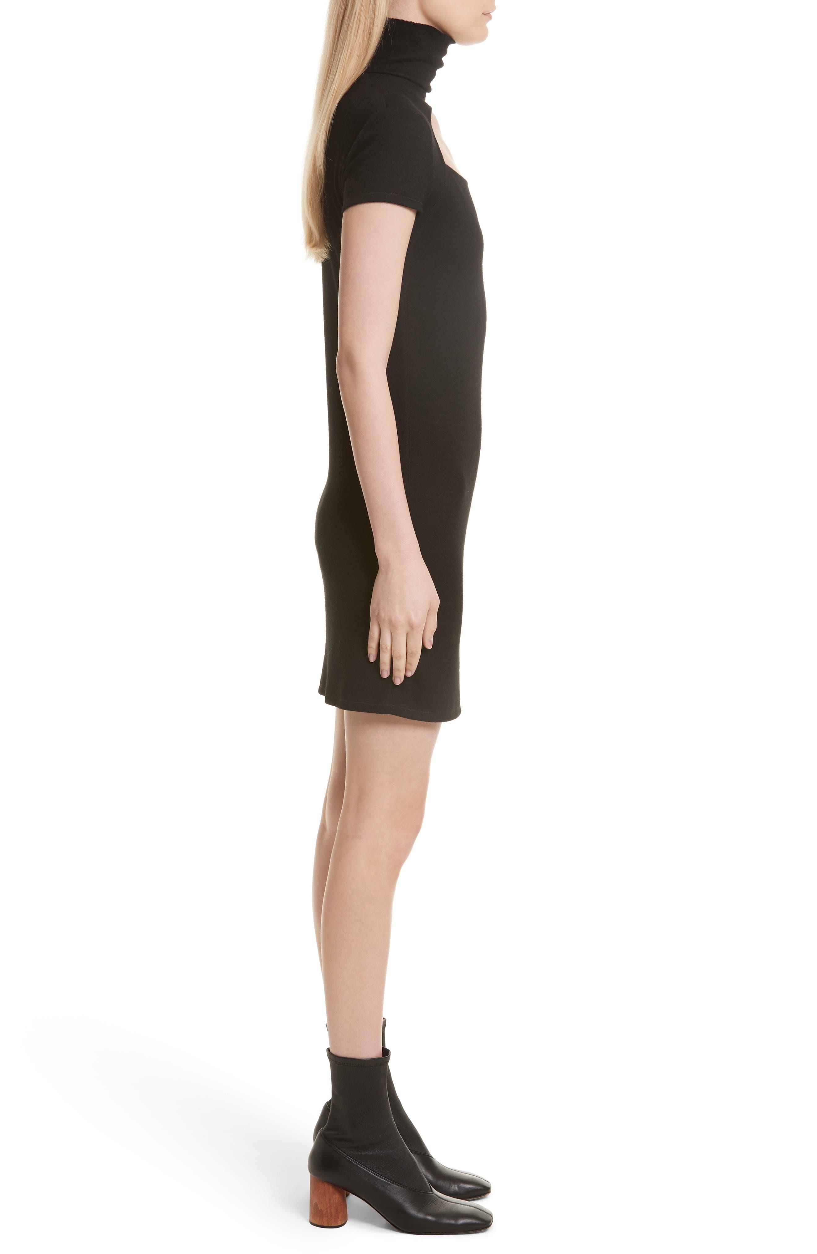 Cutout Wool Blend Dress,                             Alternate thumbnail 3, color,                             Black