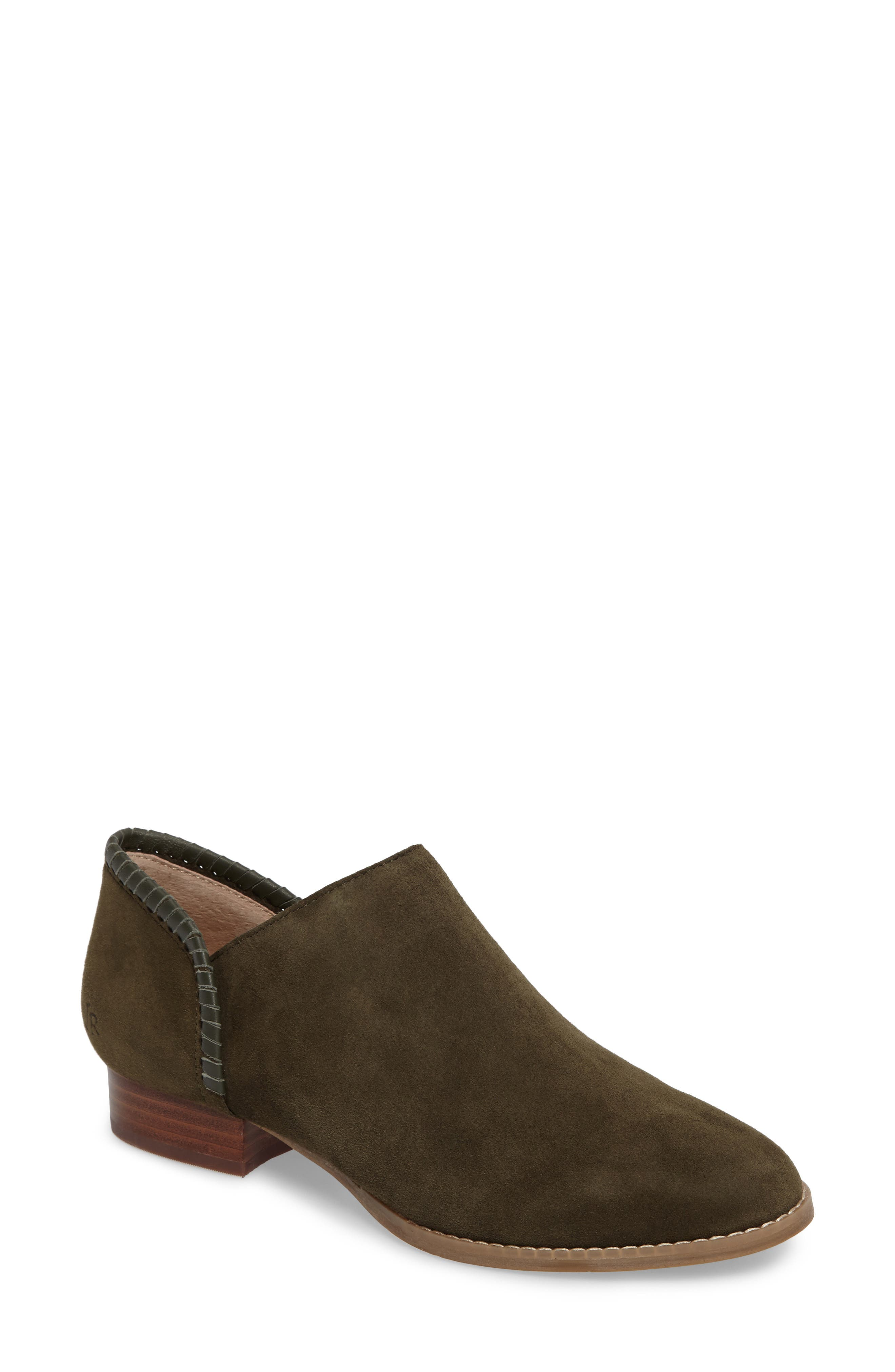 Avery Low Bootie,                             Main thumbnail 1, color,                             Olive Suede