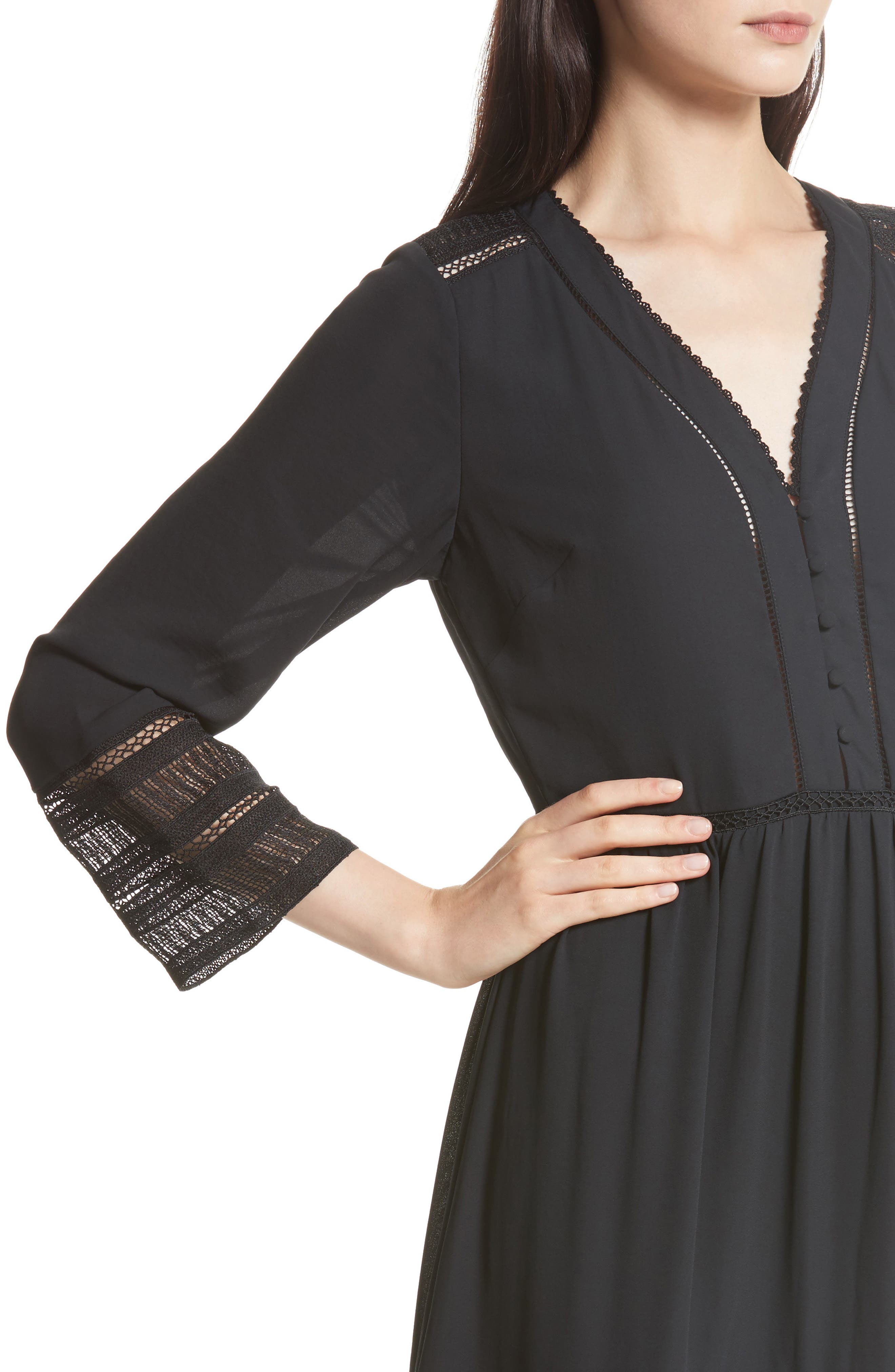 Daphne A-Line Dress,                             Alternate thumbnail 4, color,                             Black