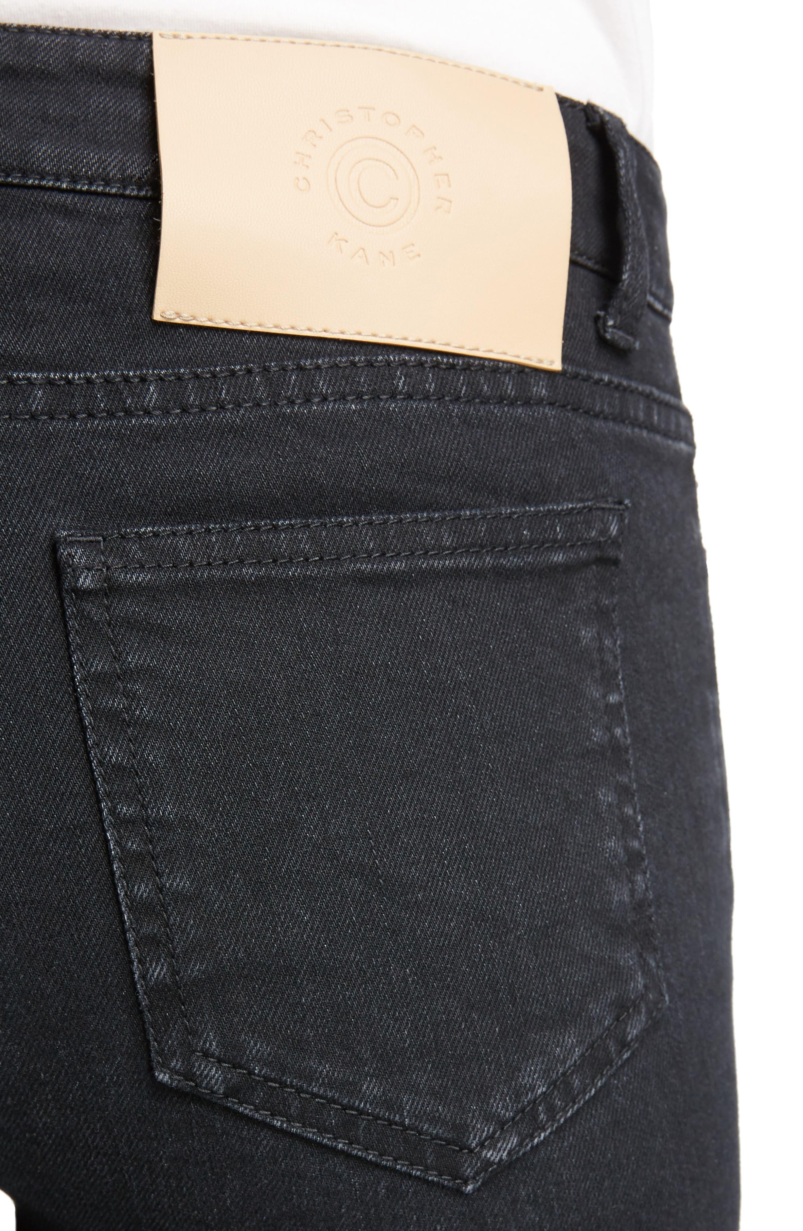 Hook & Loop Fly Skinny Jeans,                             Alternate thumbnail 4, color,                             Black