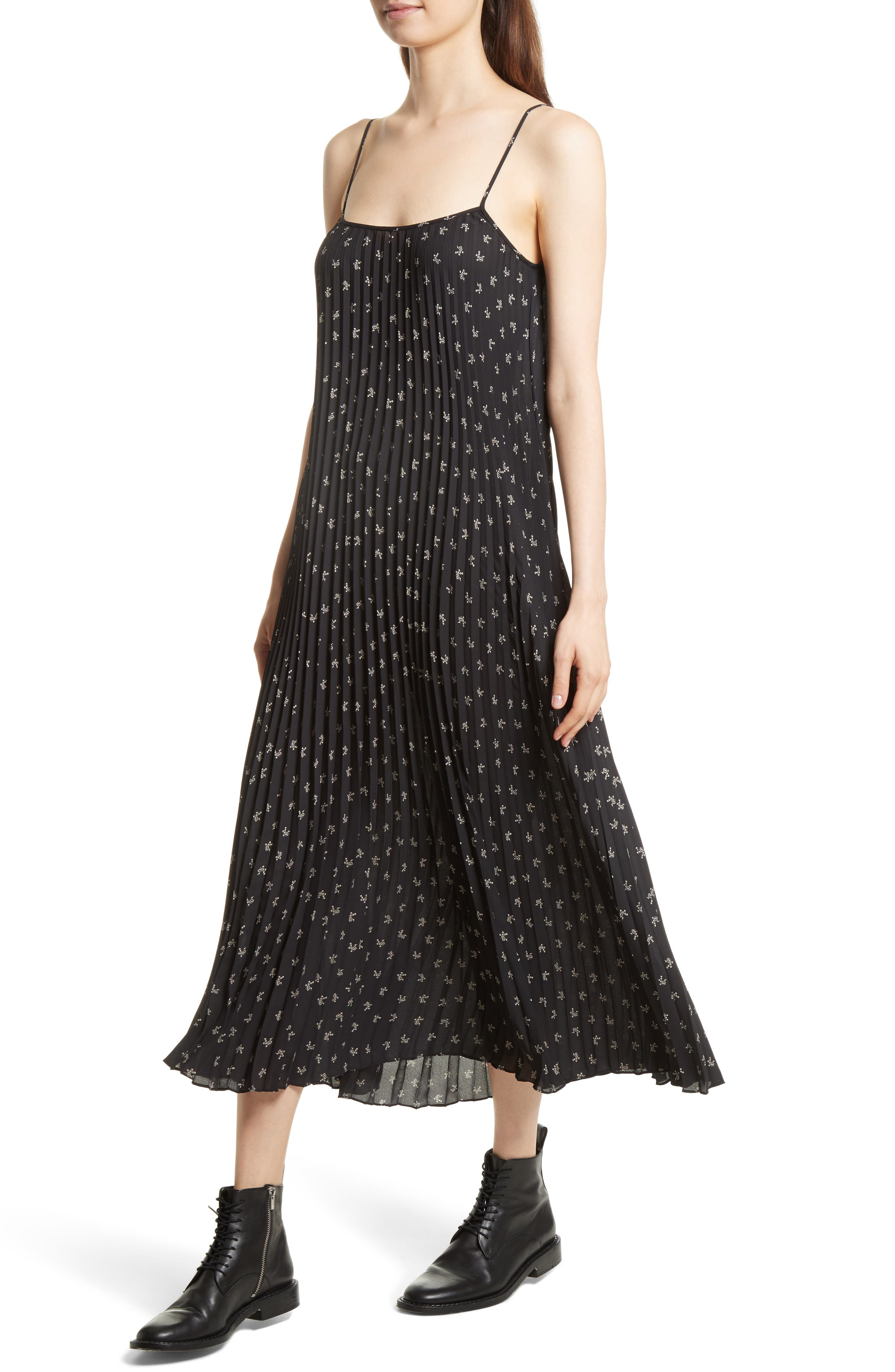 Tossed Ditsy Floral Pleated Slipdress,                             Alternate thumbnail 4, color,                             Black/ Linen